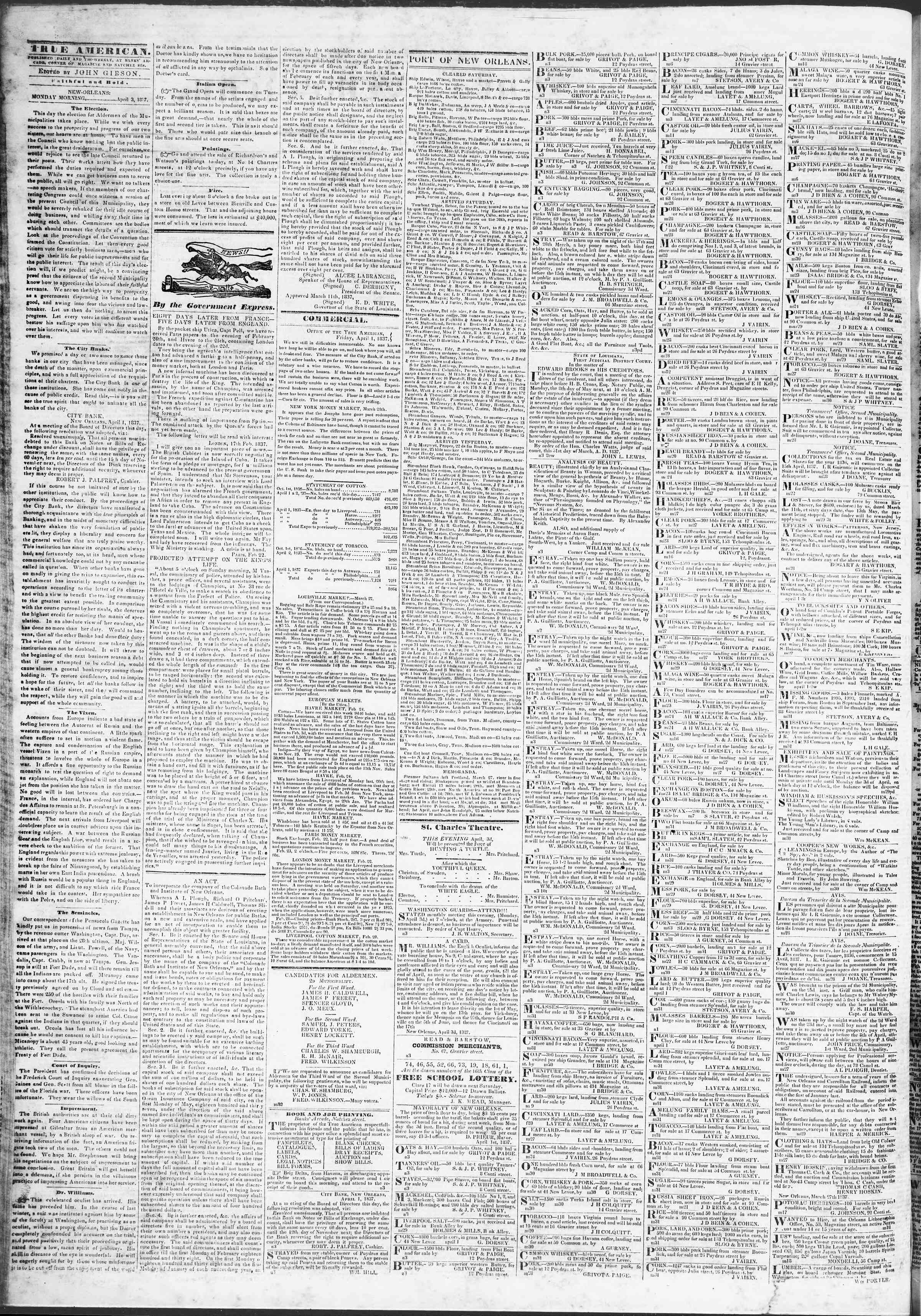 April 3, 1837 Tarihli True American Gazetesi Sayfa 2