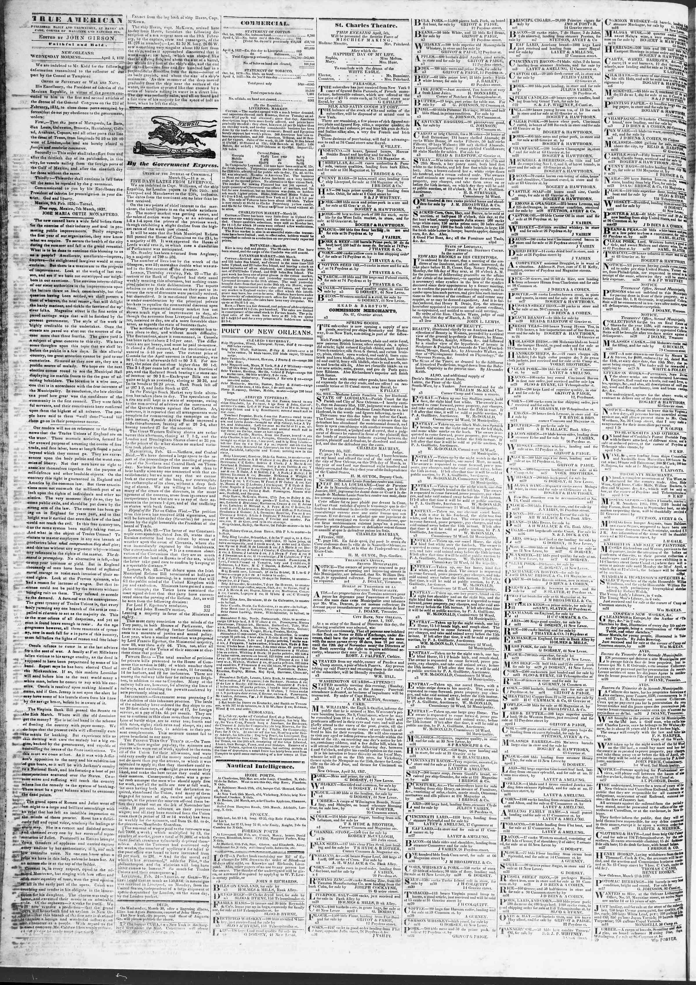April 5, 1837 Tarihli True American Gazetesi Sayfa 2