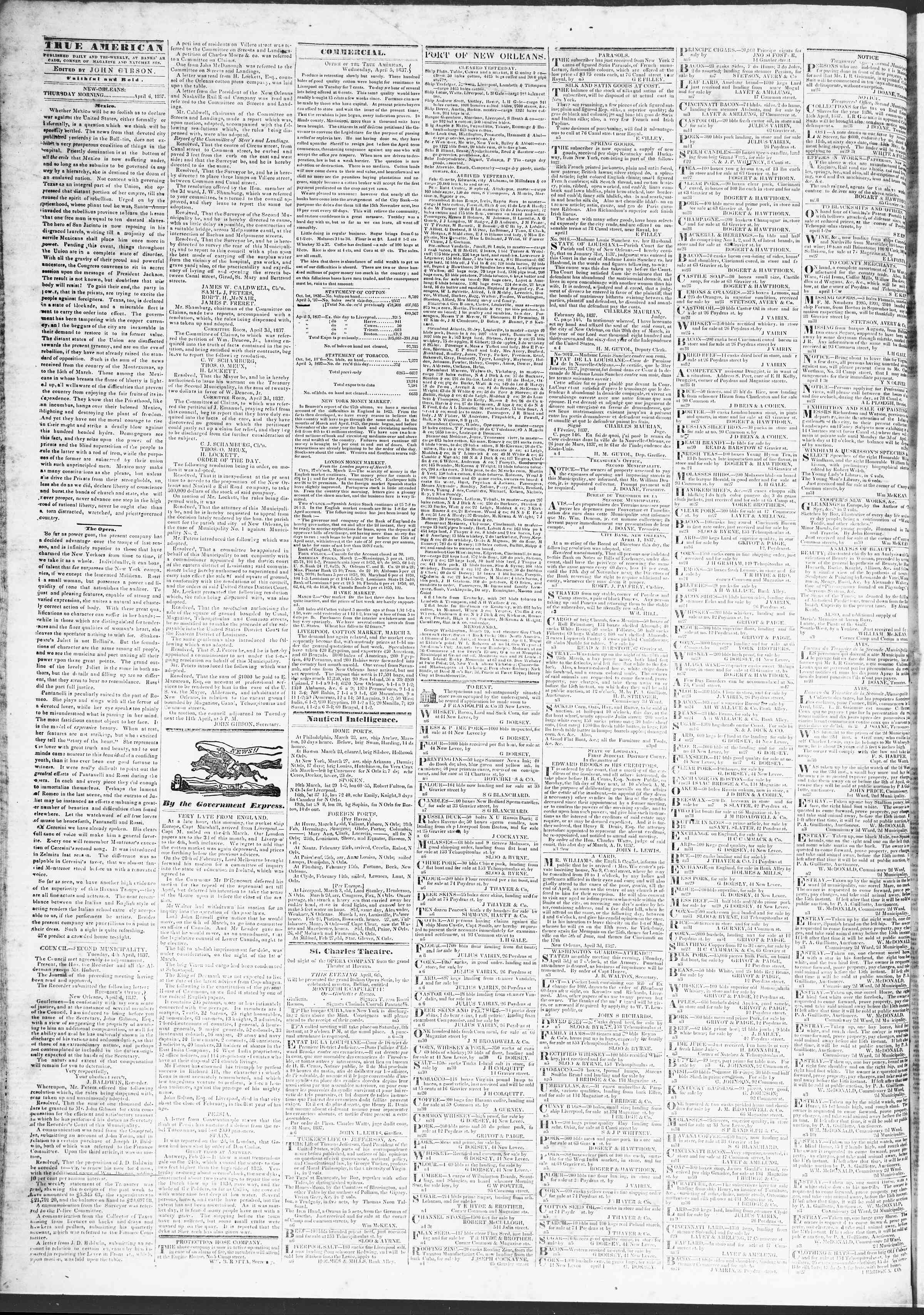 6 Nisan 1837 Tarihli True American Gazetesi Sayfa 2