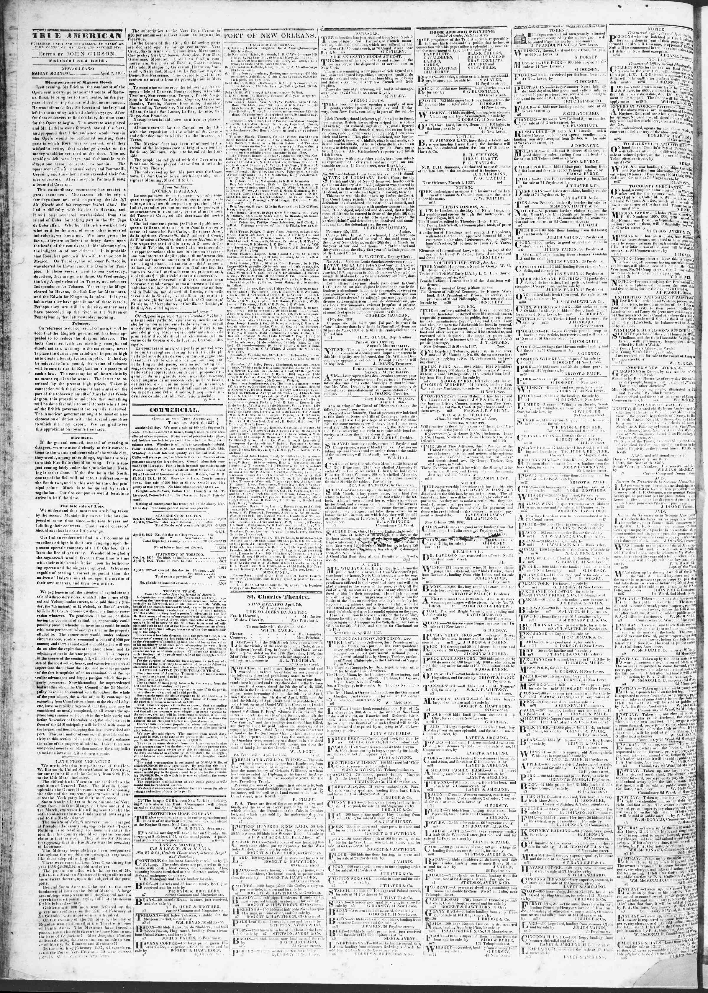 Newspaper of True American dated April 7, 1837 Page 2