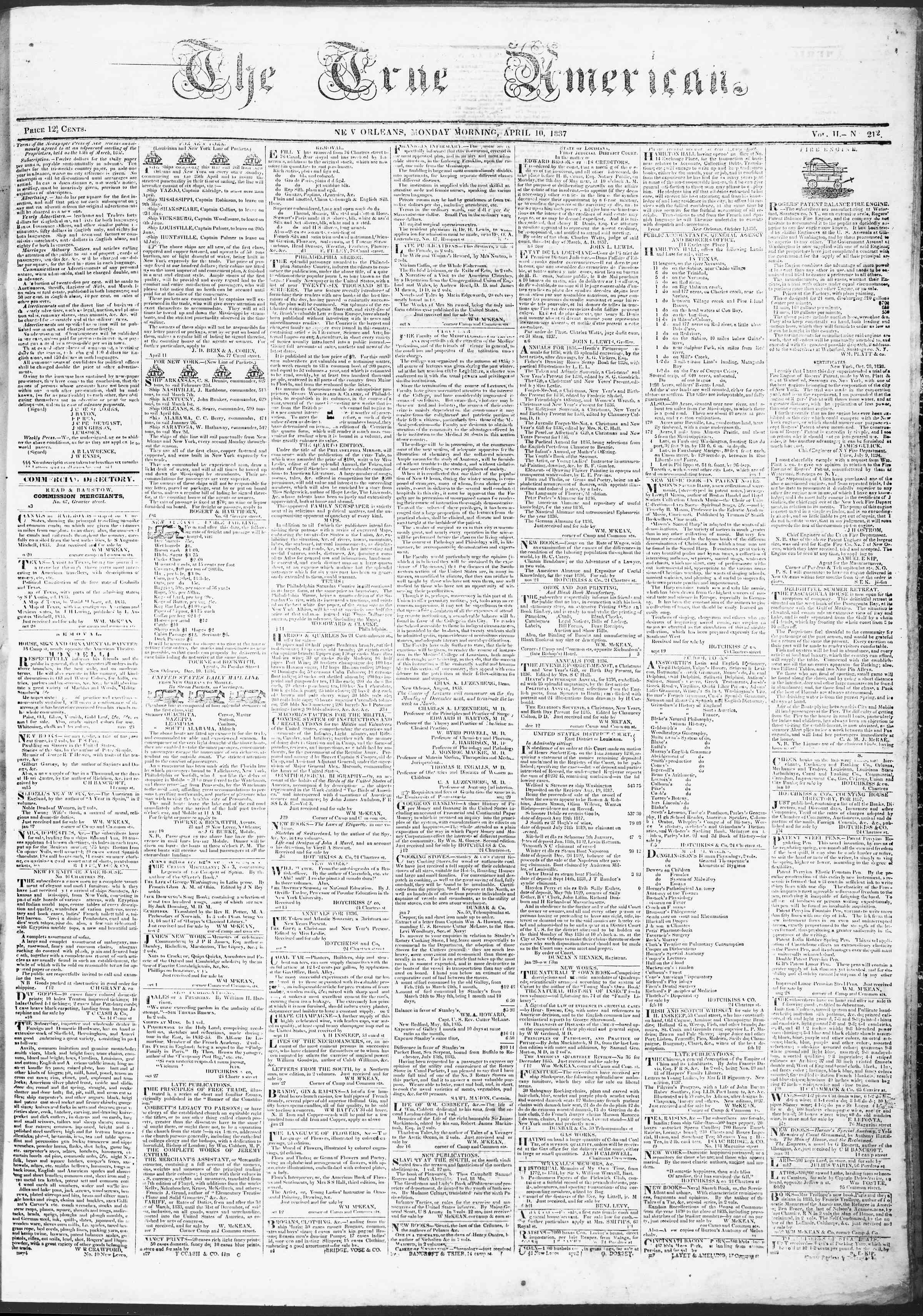 April 10, 1837 Tarihli True American Gazetesi Sayfa 1