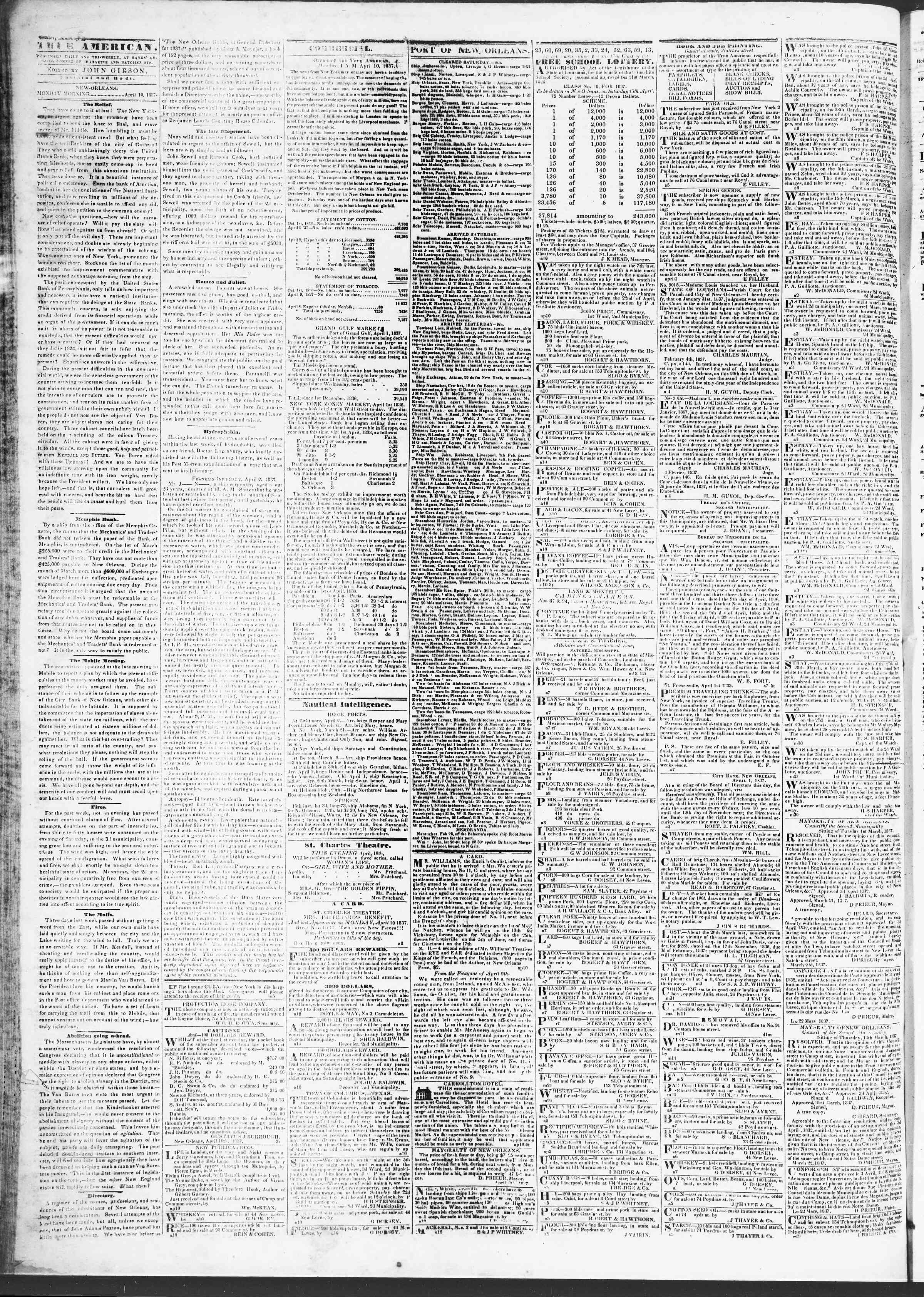Newspaper of True American dated April 10, 1837 Page 2