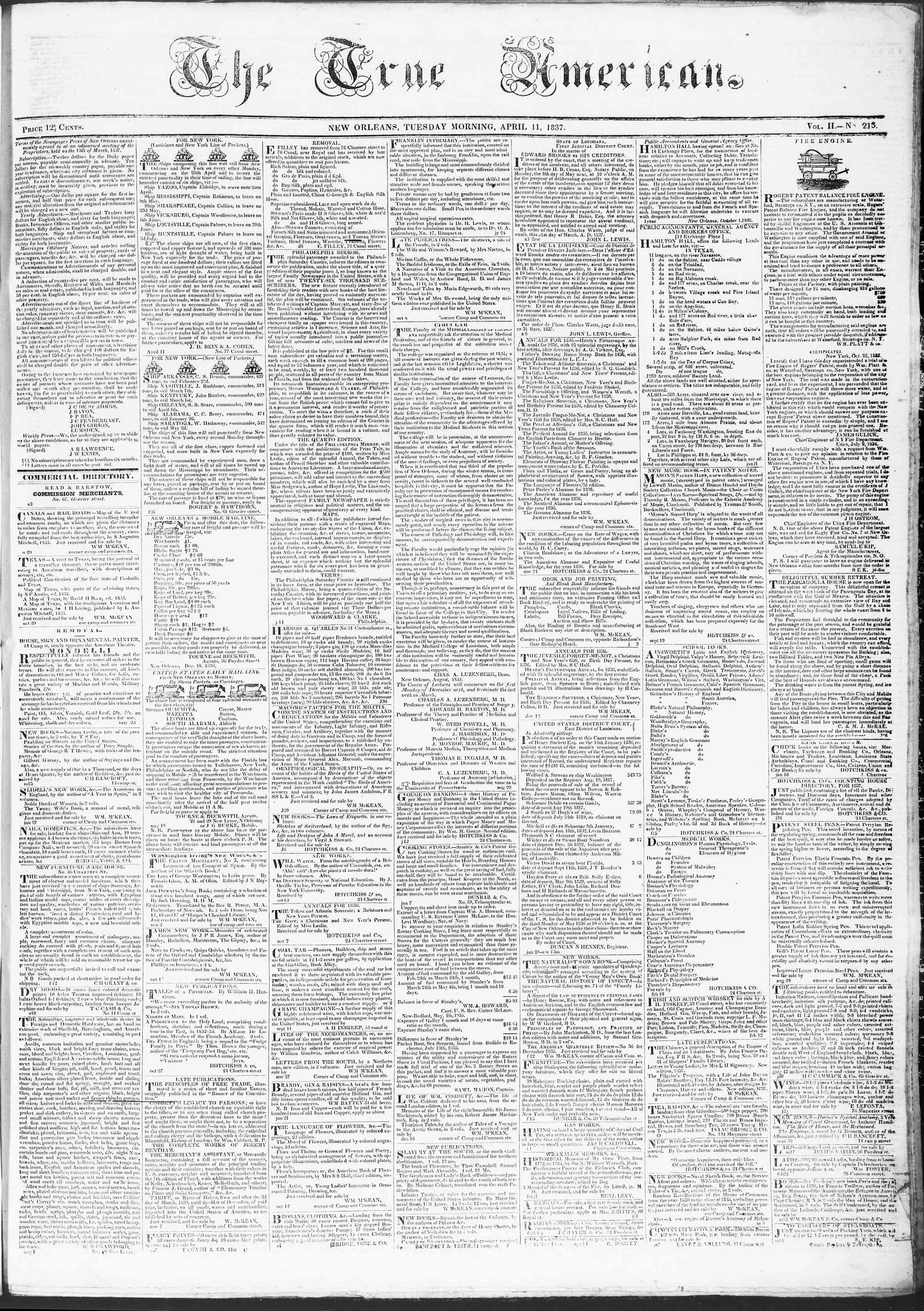 11 Nisan 1837 tarihli True American Gazetesi Sayfa 1