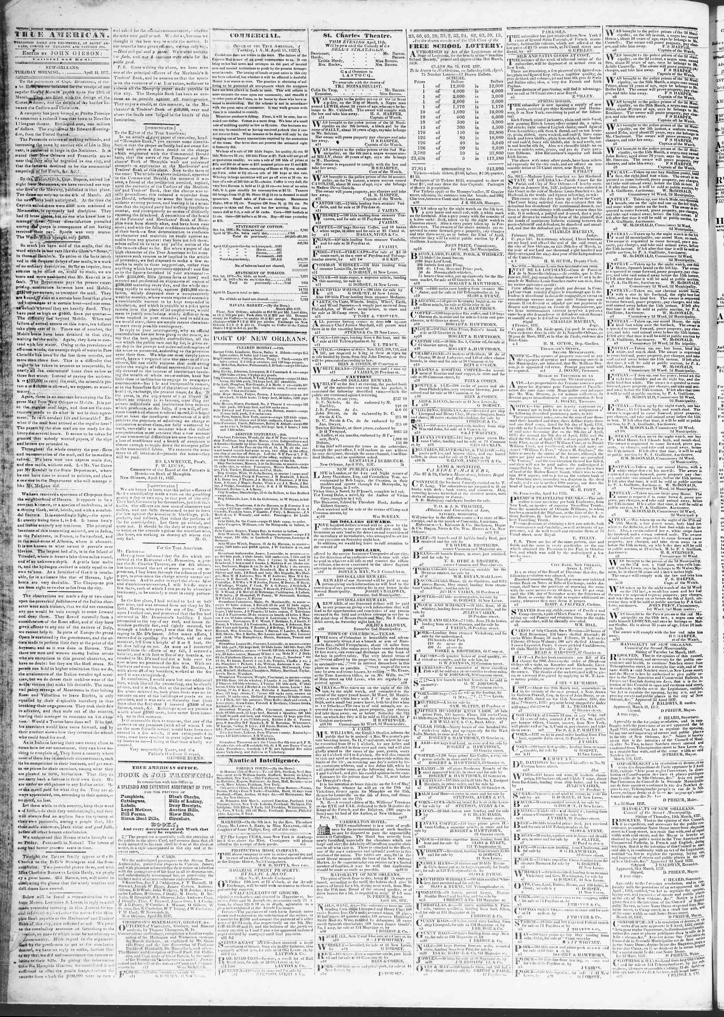 April 11, 1837 Tarihli True American Gazetesi Sayfa 2