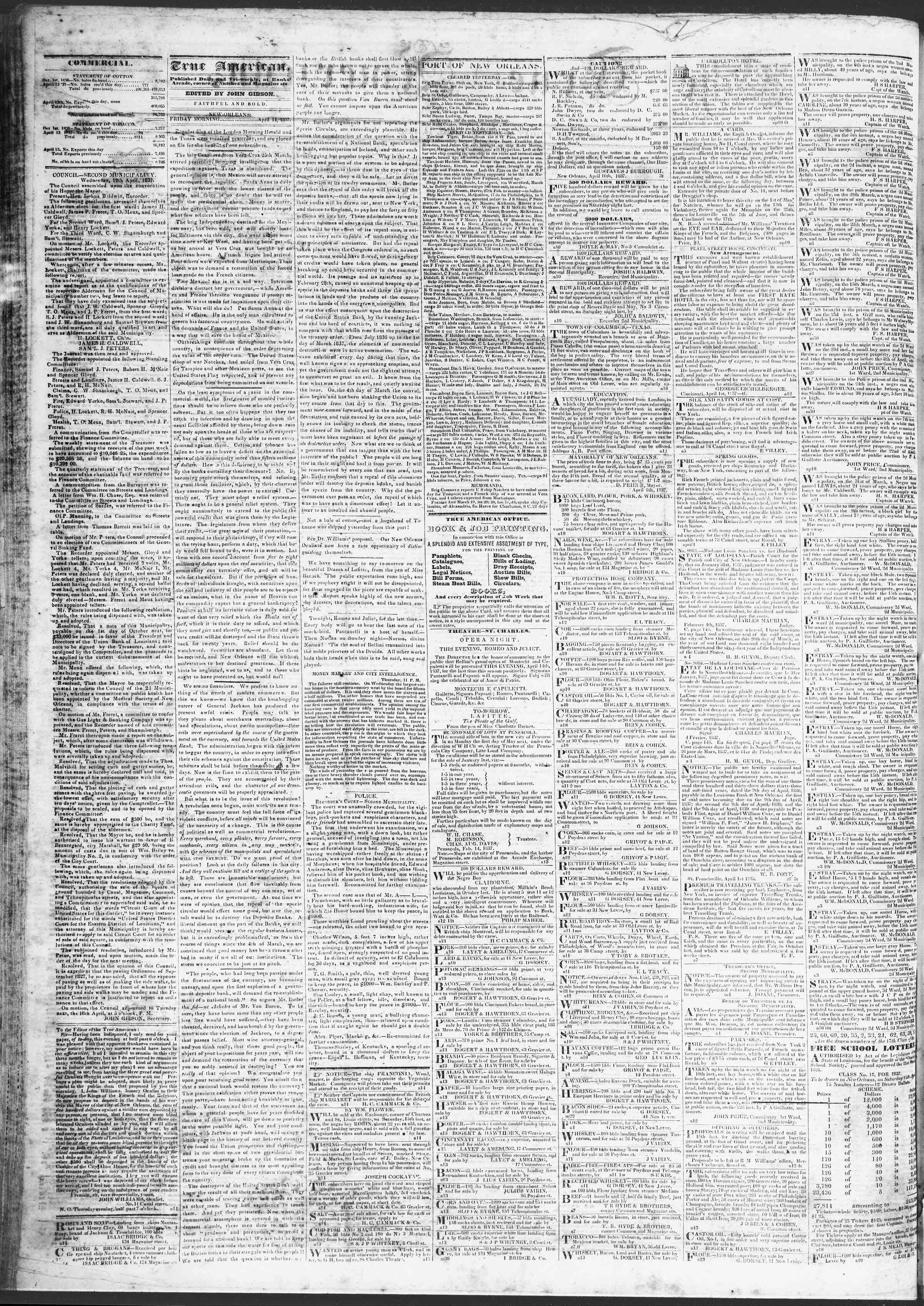 Newspaper of True American dated April 14, 1837 Page 2