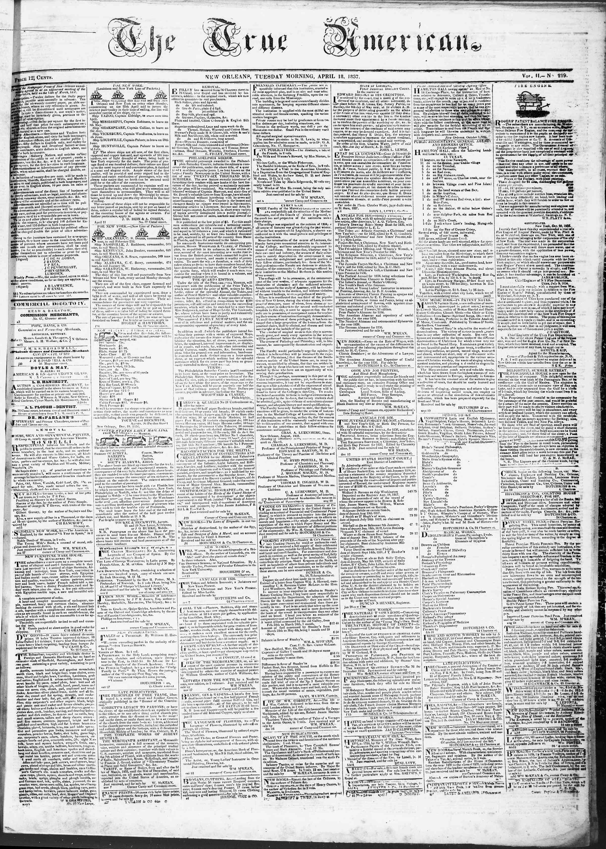 Newspaper of True American dated April 18, 1837 Page 1