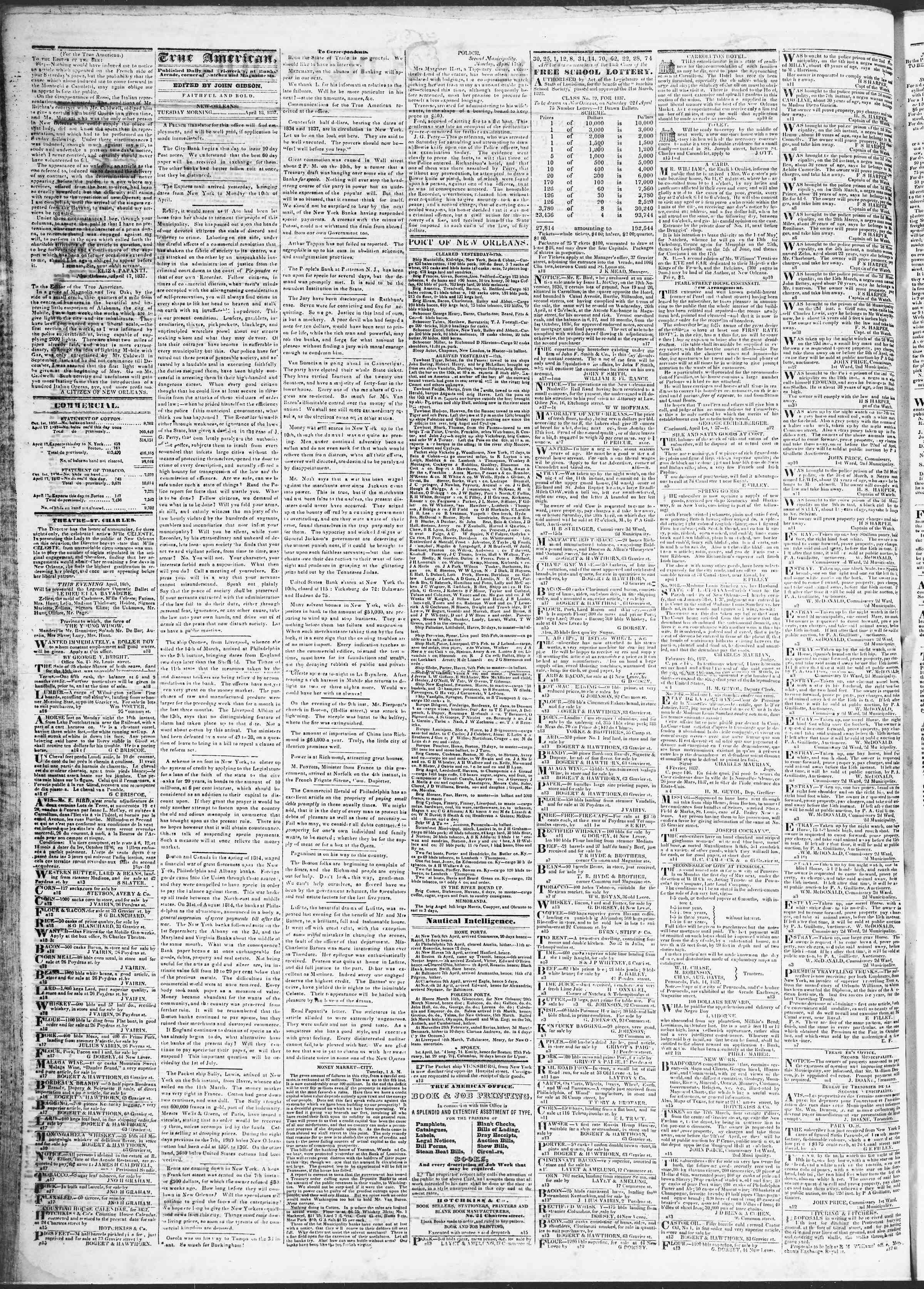 18 Nisan 1837 tarihli True American Gazetesi Sayfa 2