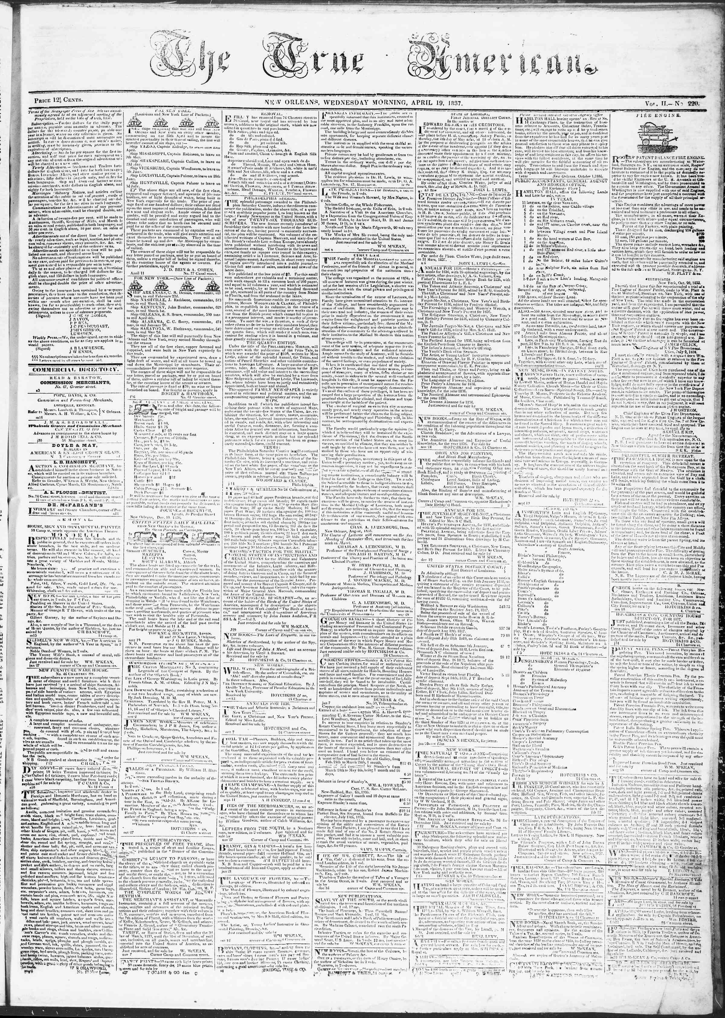 April 19, 1837 Tarihli True American Gazetesi Sayfa 1