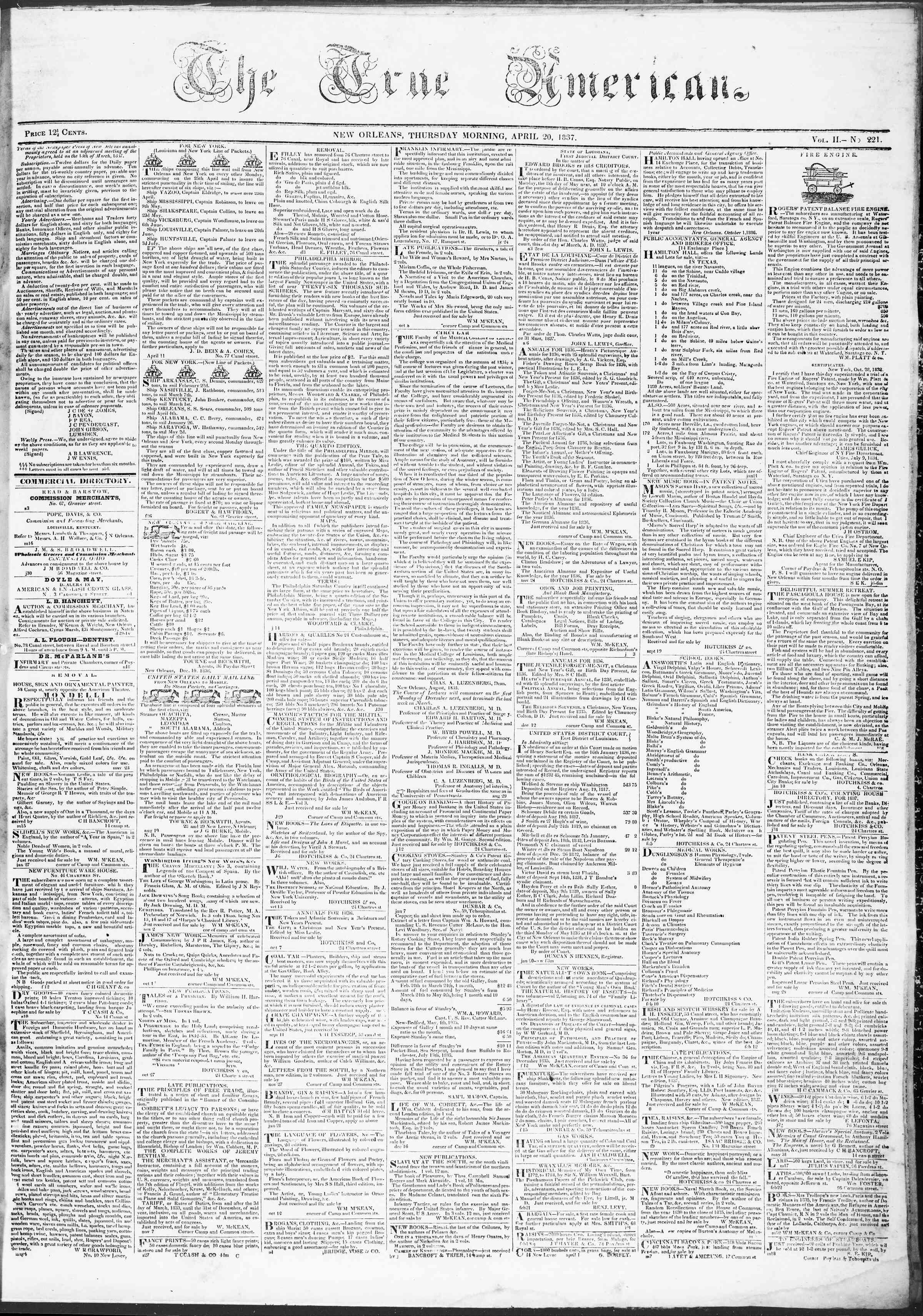 April 20, 1837 Tarihli True American Gazetesi Sayfa 1