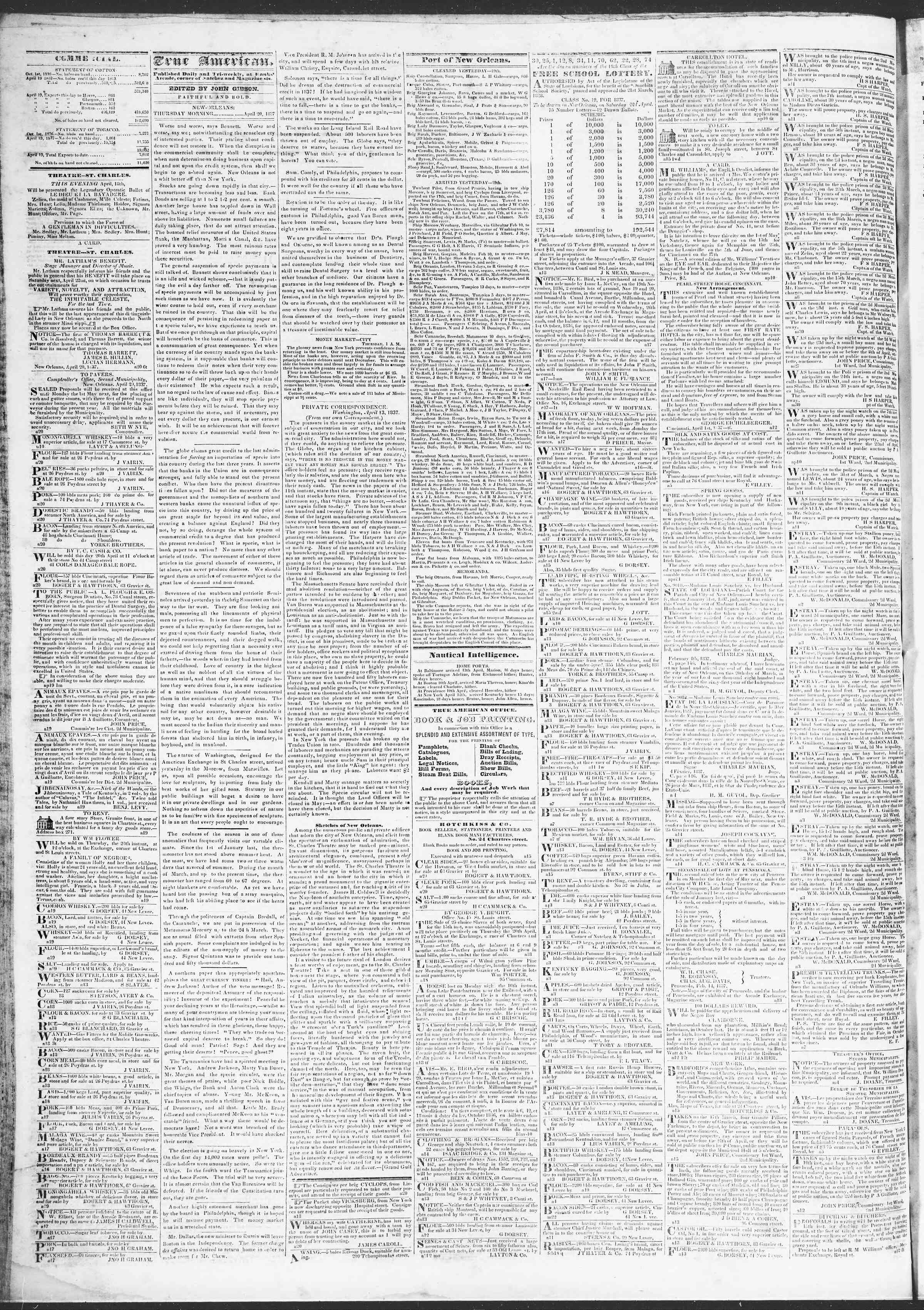 Newspaper of True American dated April 20, 1837 Page 2