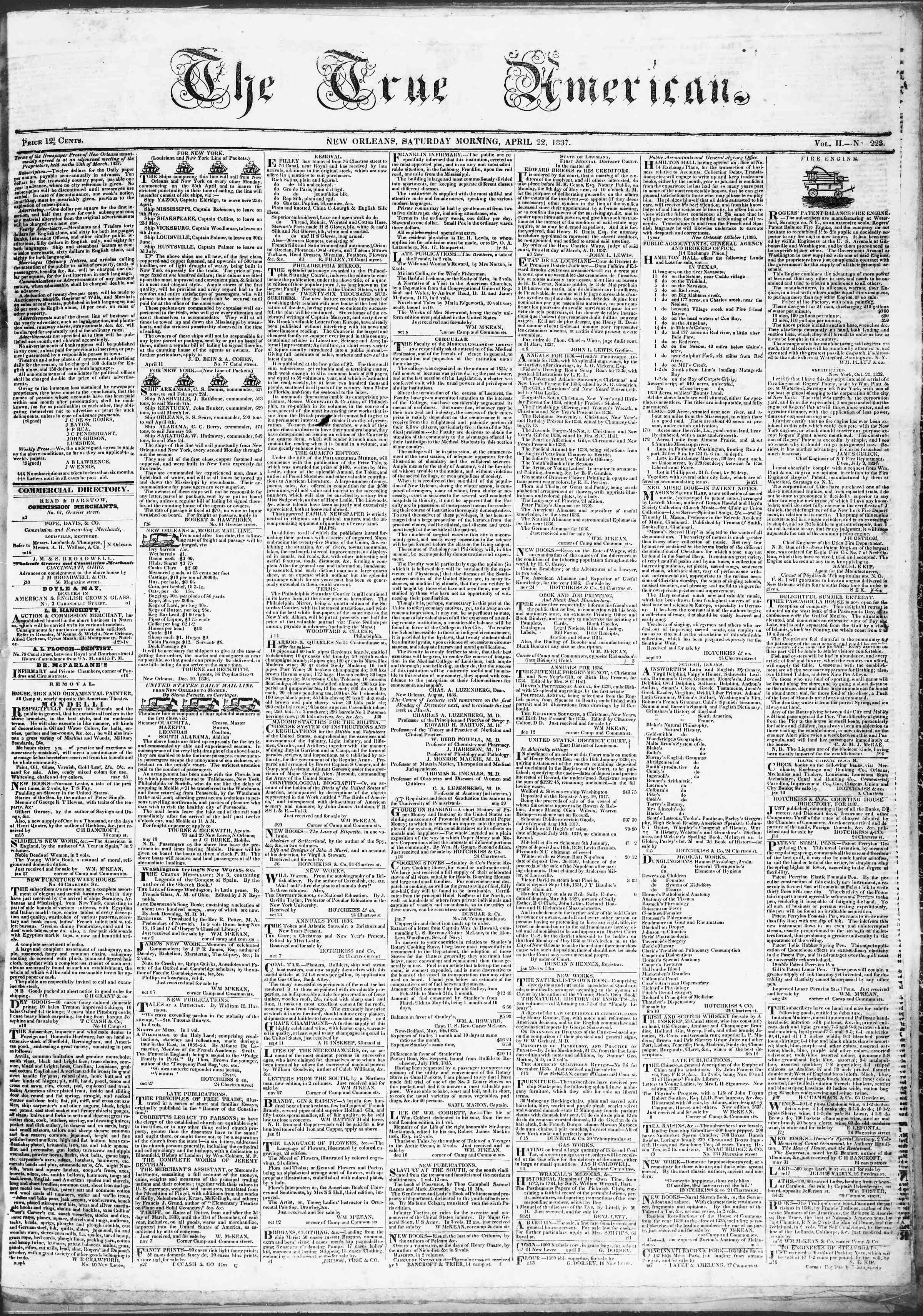 Newspaper of True American dated 22 Nisan 1837 Page 1
