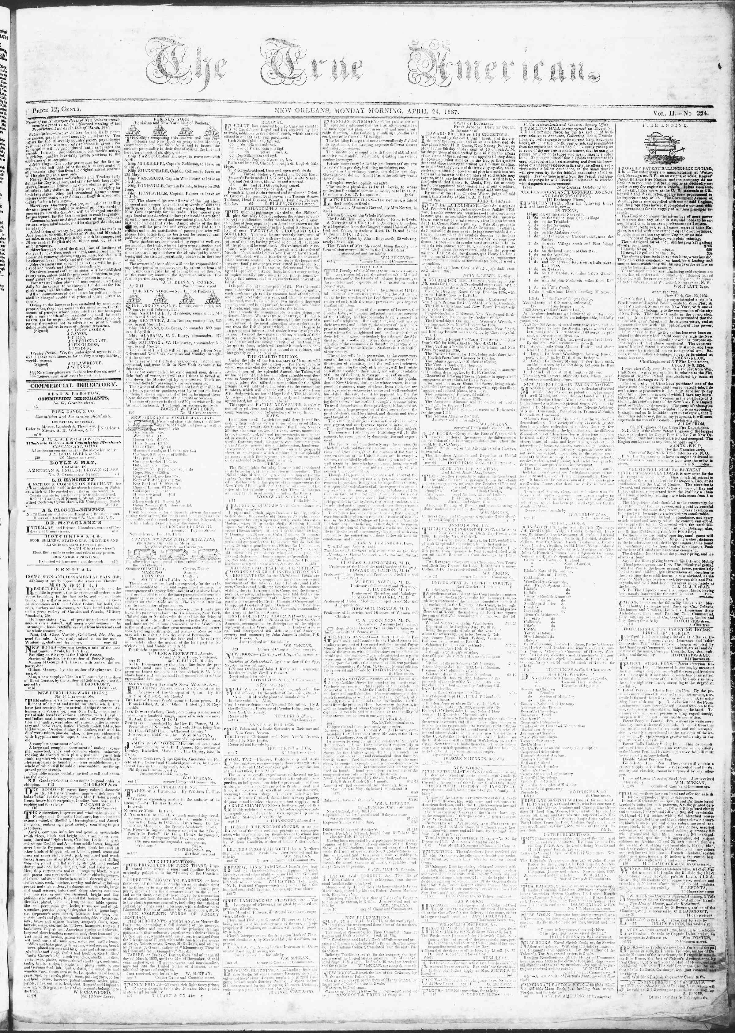 April 24, 1837 Tarihli True American Gazetesi Sayfa 1