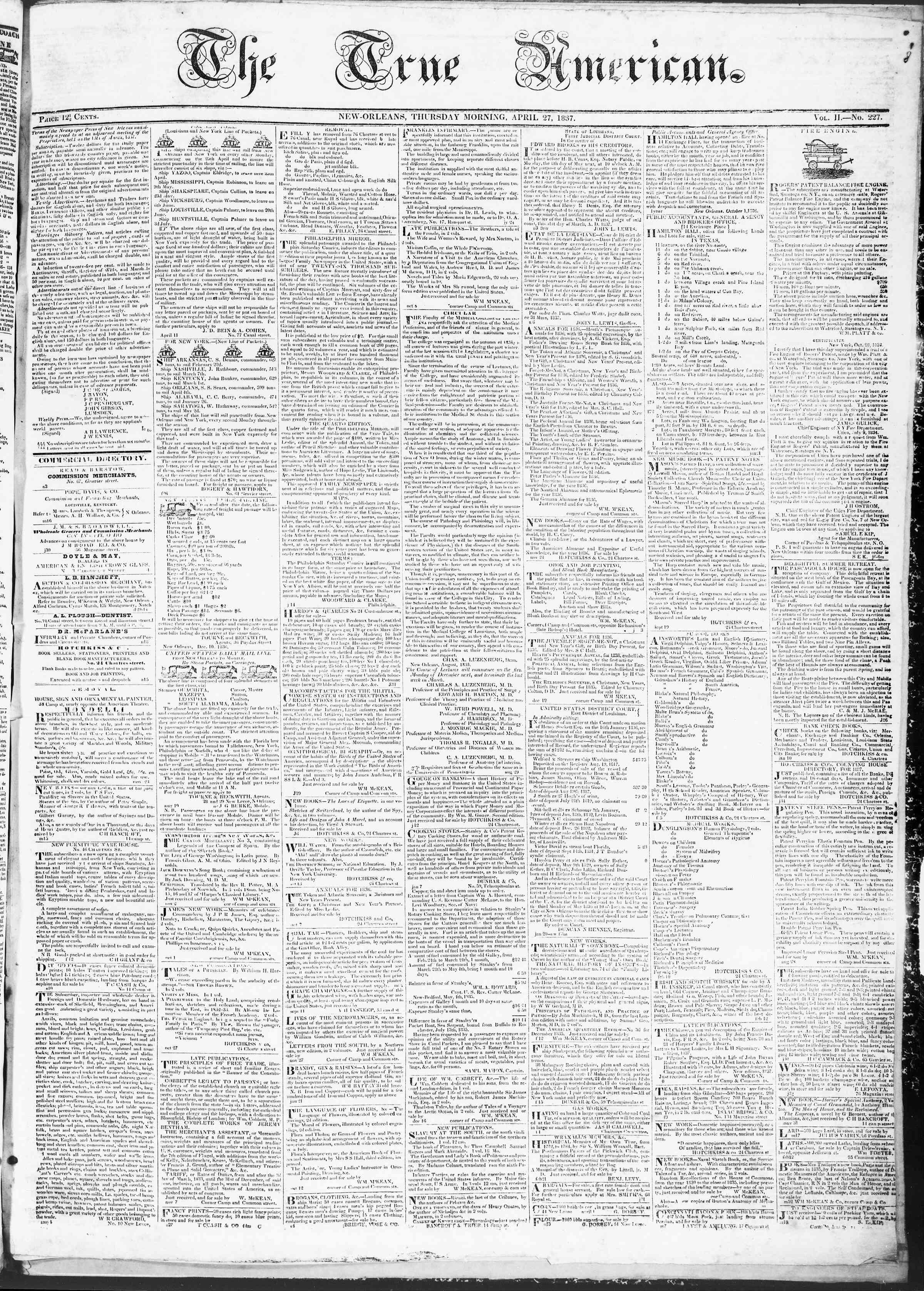 April 27, 1837 Tarihli True American Gazetesi Sayfa 1
