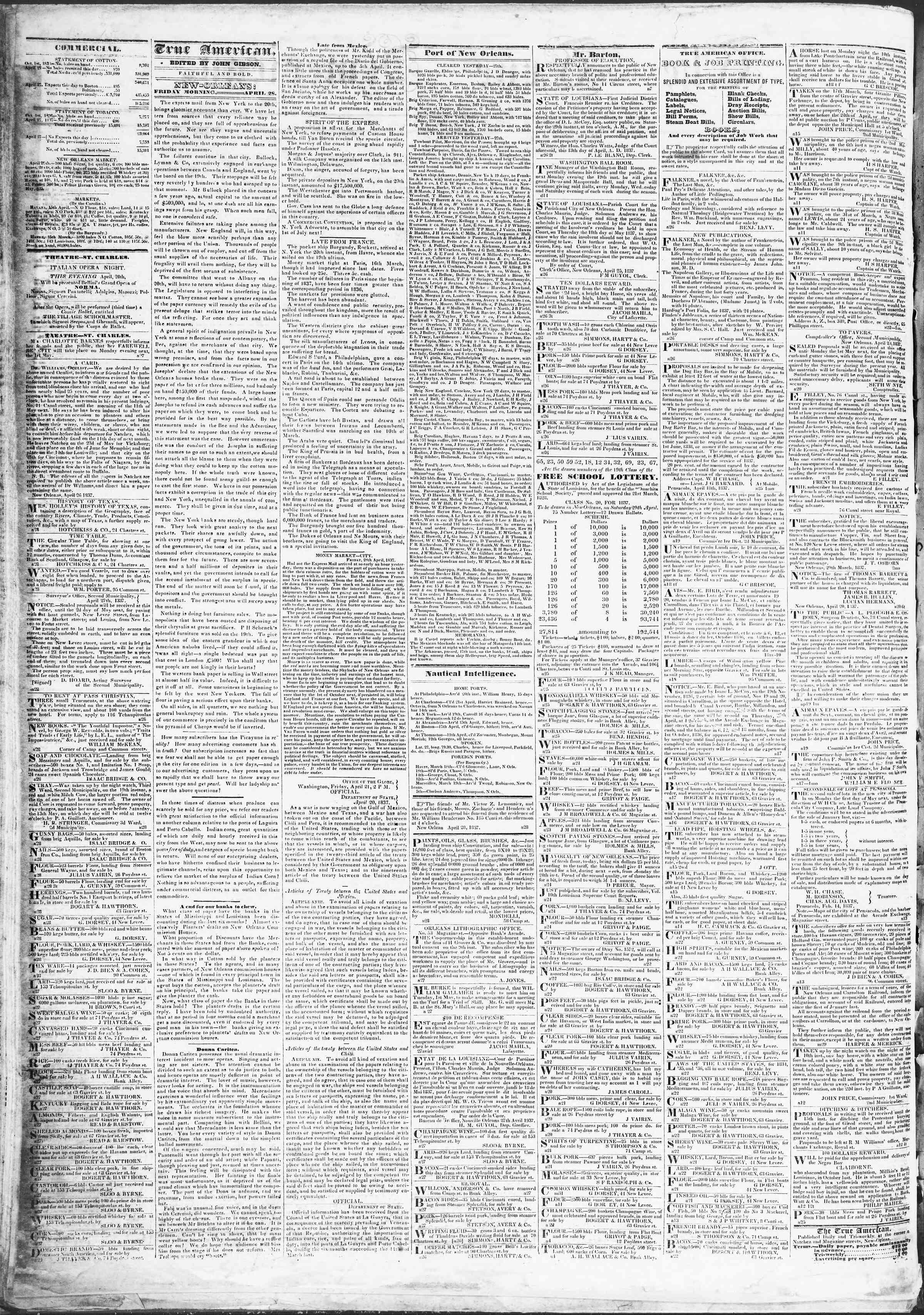 April 28, 1837 Tarihli True American Gazetesi Sayfa 2
