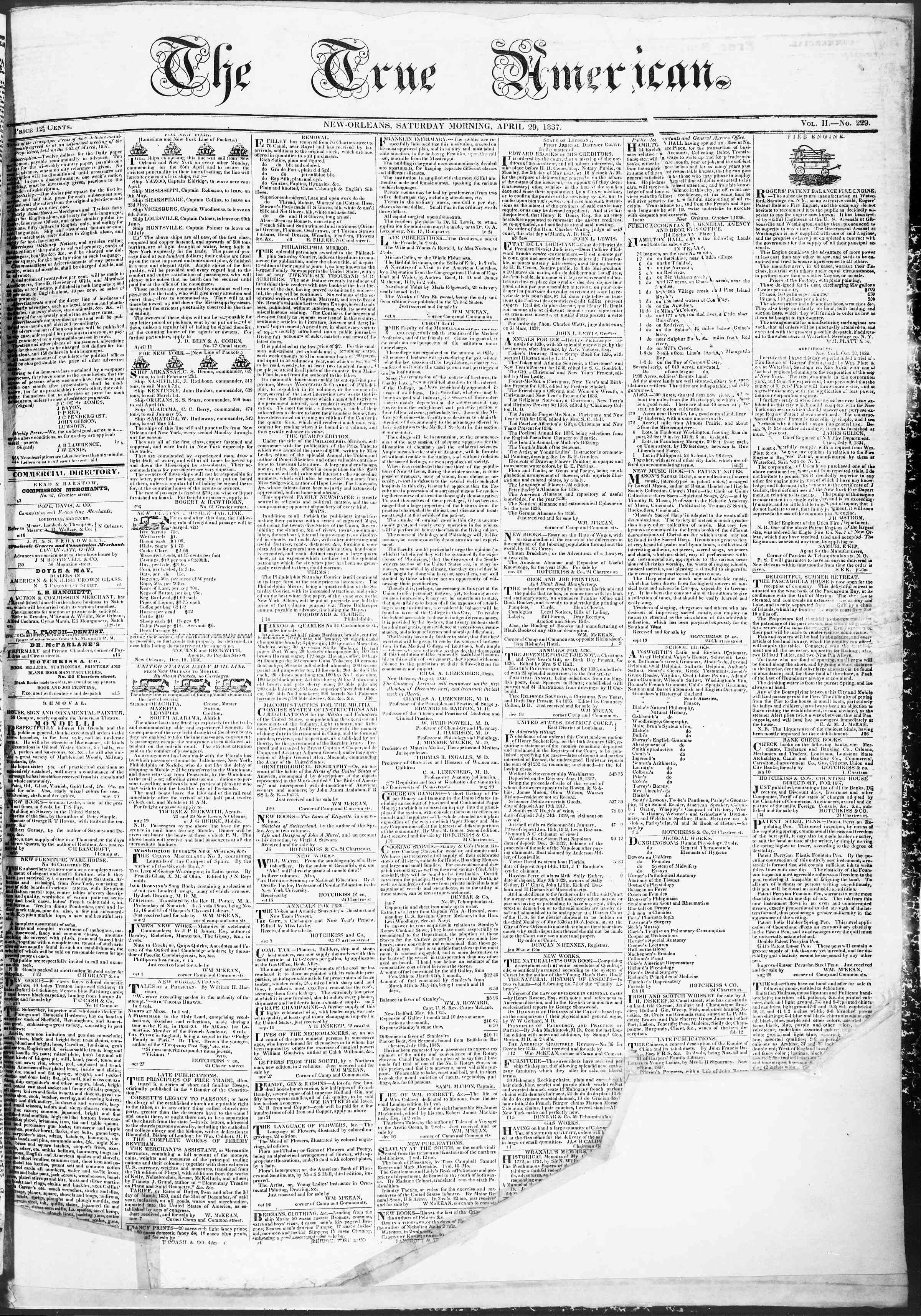 Newspaper of True American dated 29 Nisan 1837 Page 1
