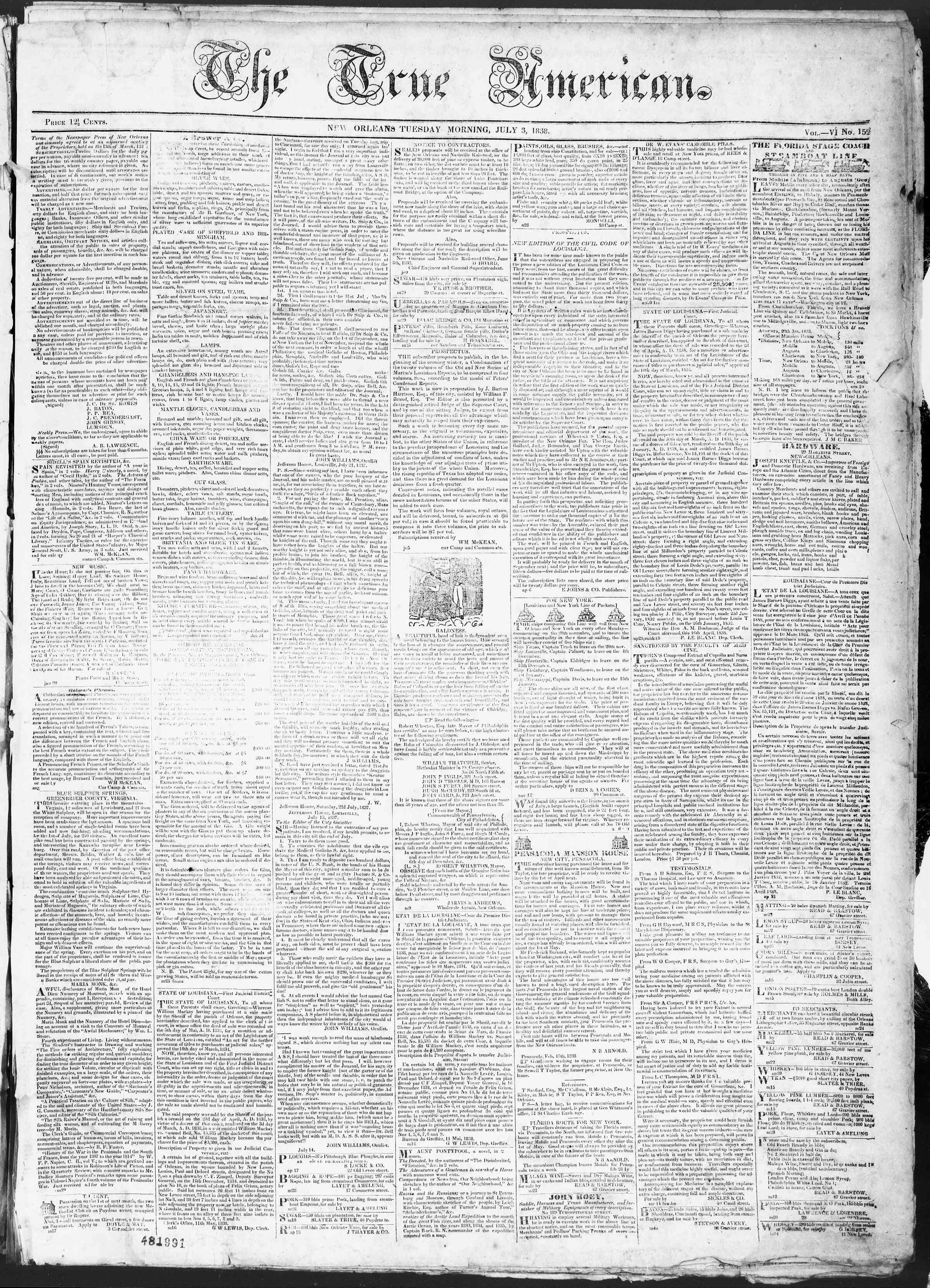 Newspaper of True American dated July 3, 1838 Page 1