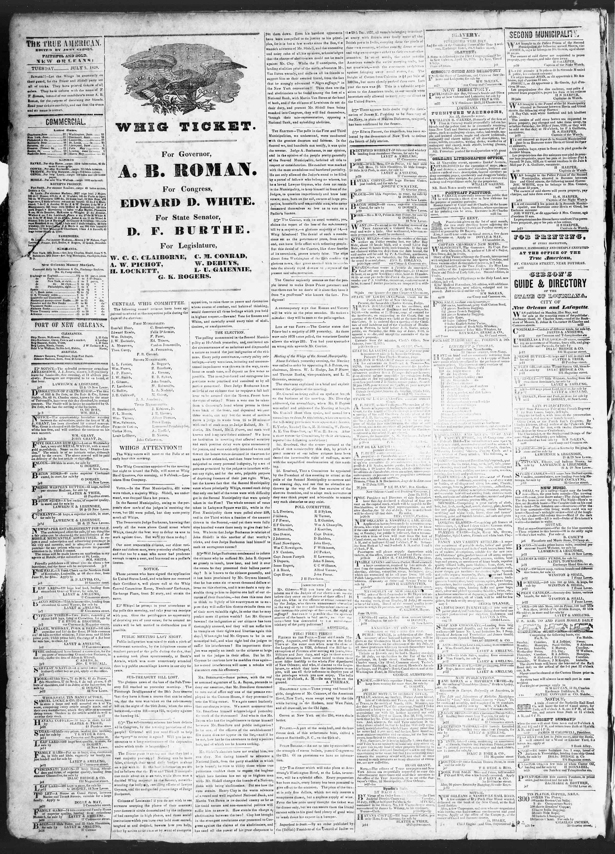 July 3, 1838 Tarihli True American Gazetesi Sayfa 2