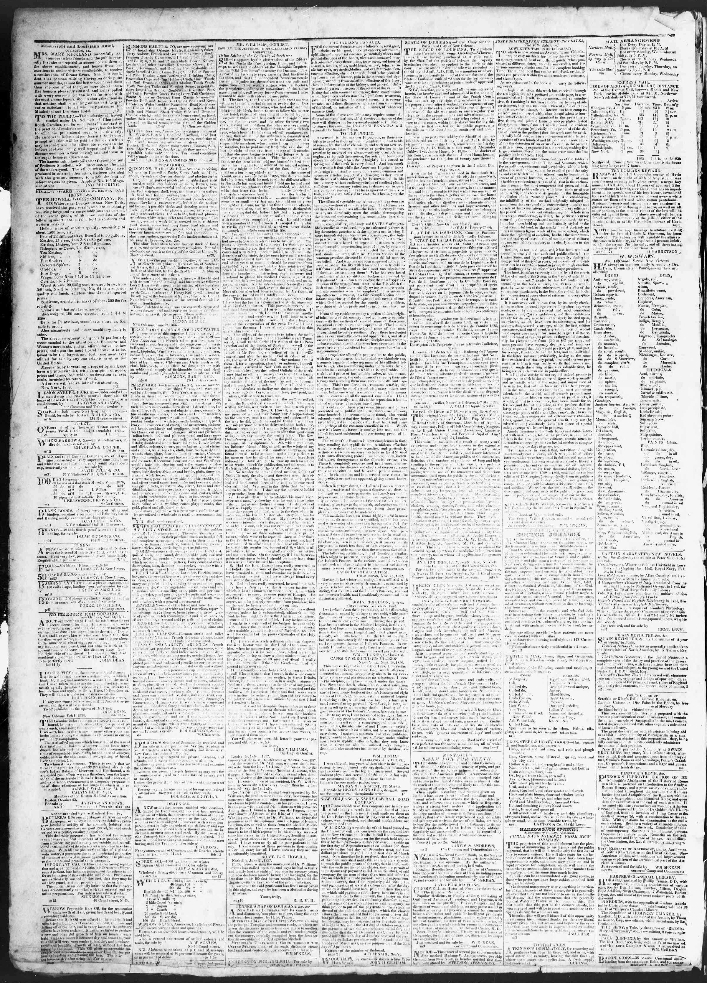 3 Temmuz 1838 Tarihli True American Gazetesi Sayfa 4