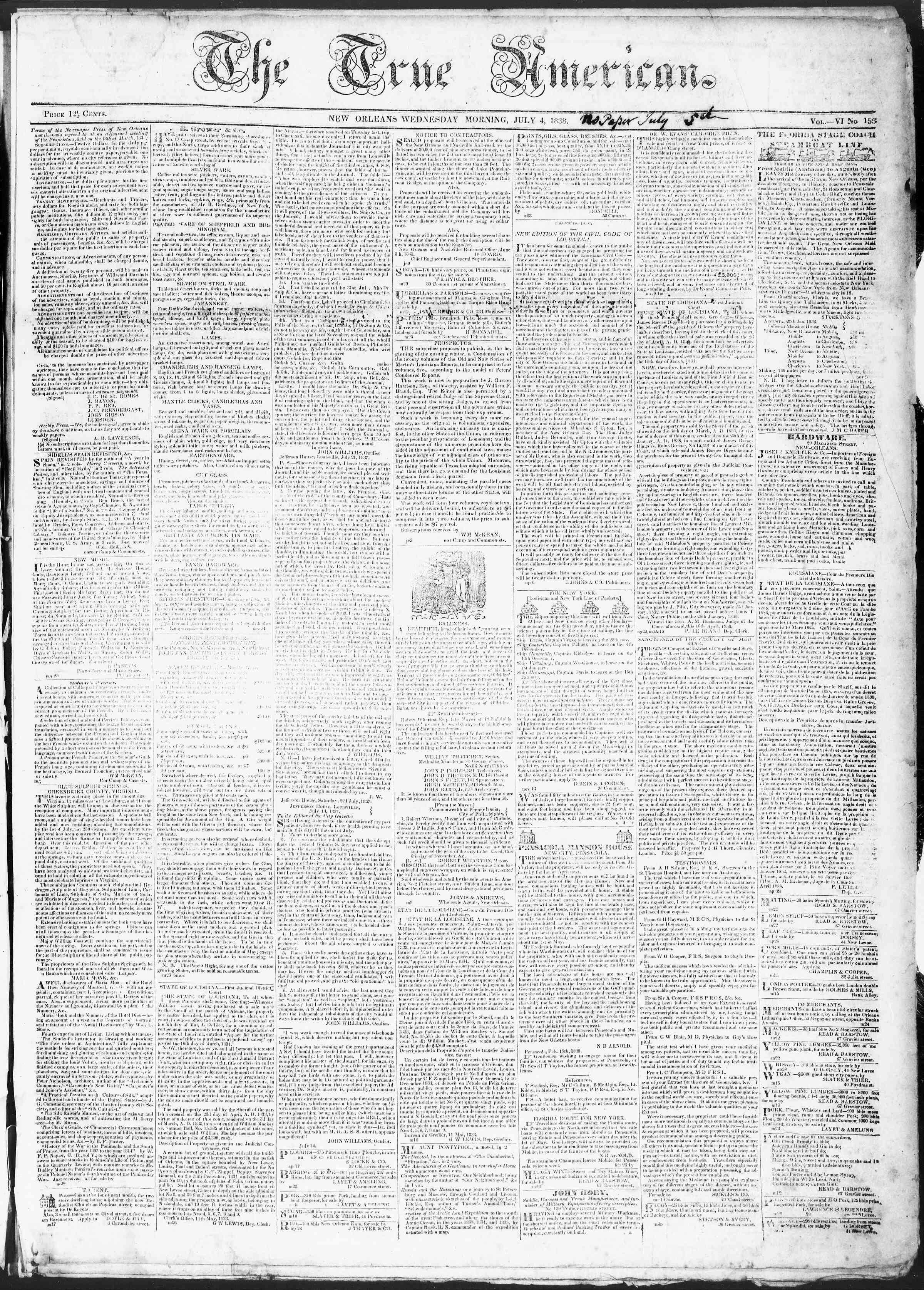 July 4, 1838 Tarihli True American Gazetesi Sayfa 1