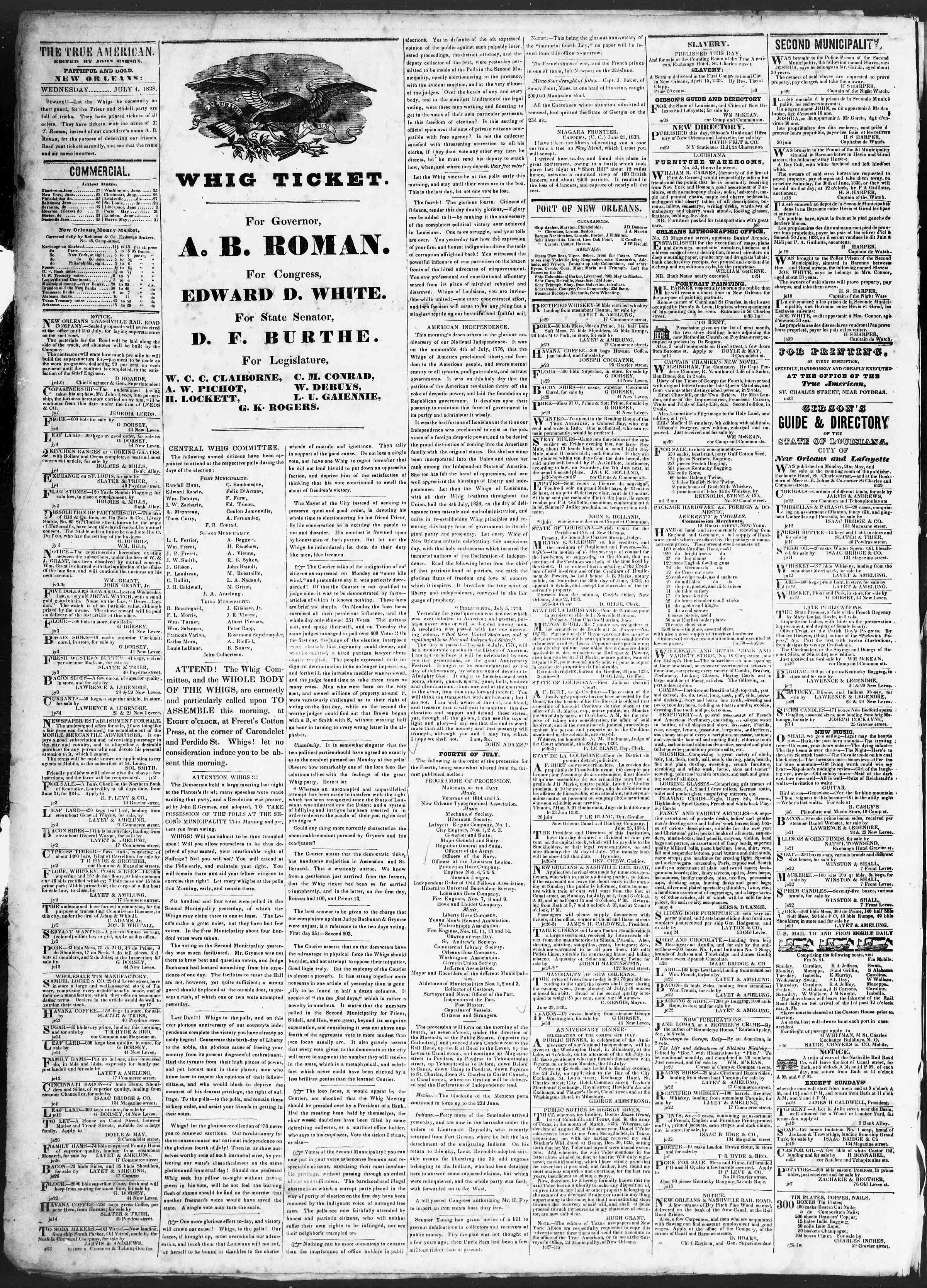 July 4, 1838 Tarihli True American Gazetesi Sayfa 2