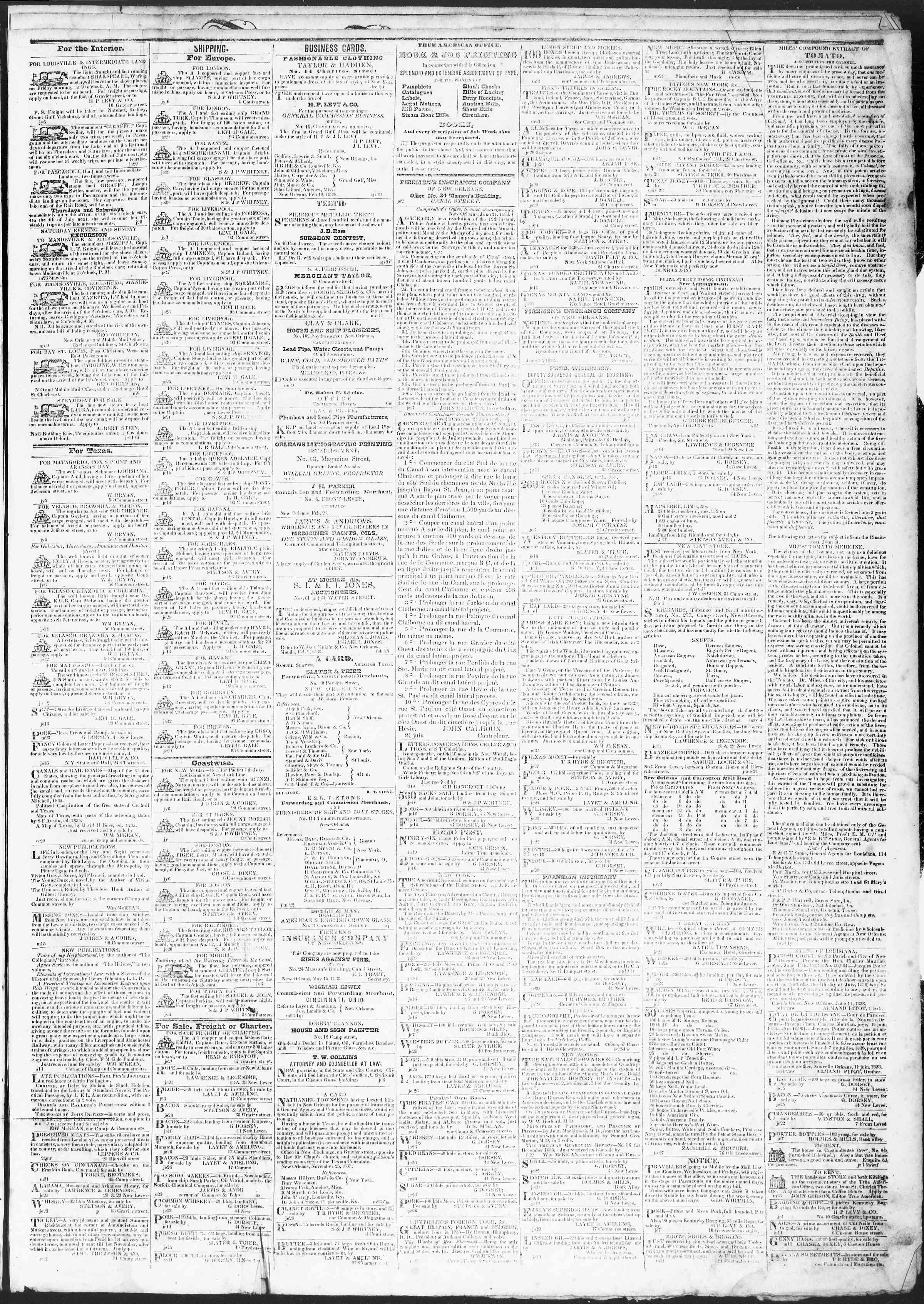 July 6, 1838 Tarihli True American Gazetesi Sayfa 3