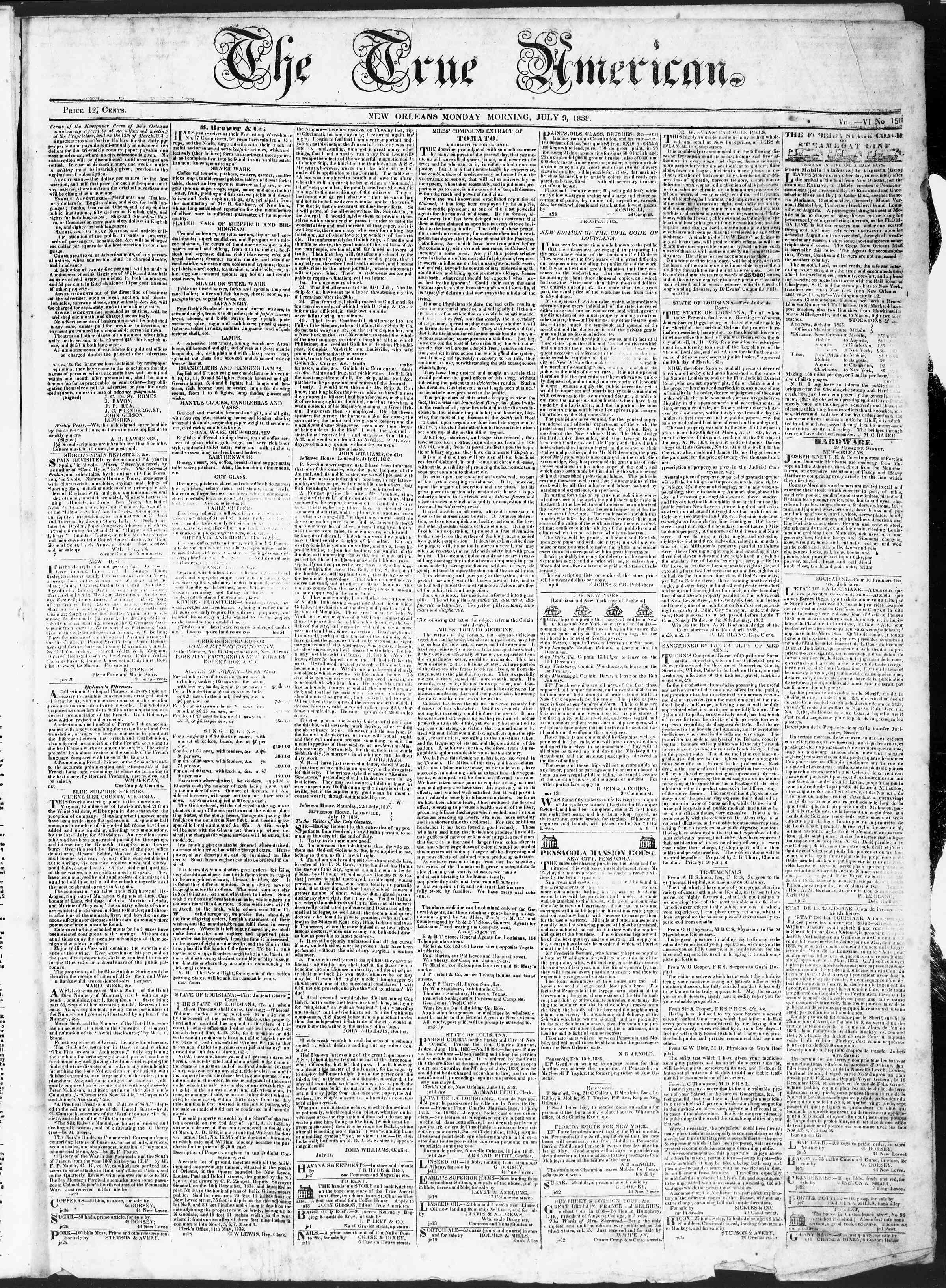 Newspaper of True American dated July 9, 1838 Page 1
