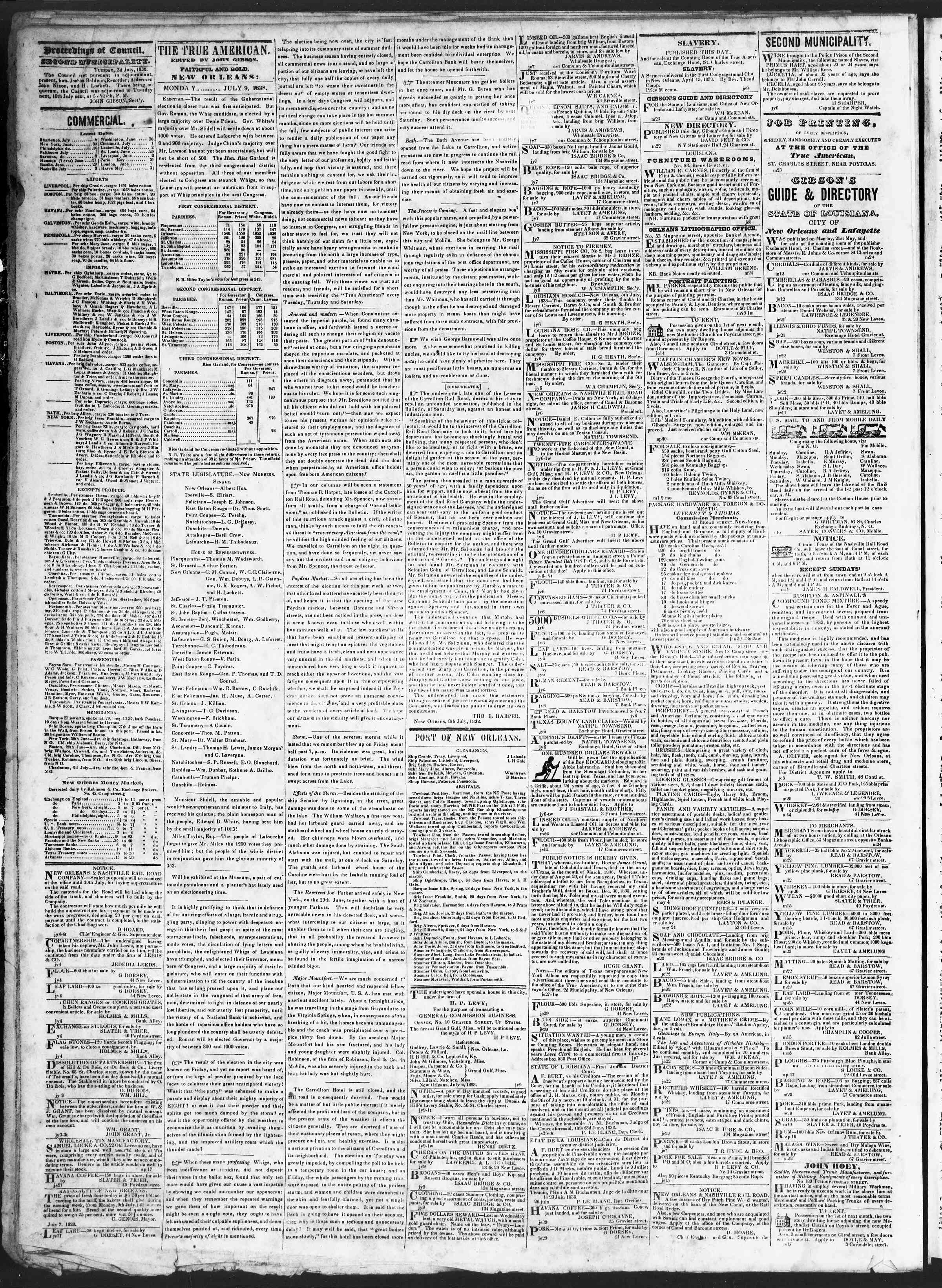 Newspaper of True American dated July 9, 1838 Page 2