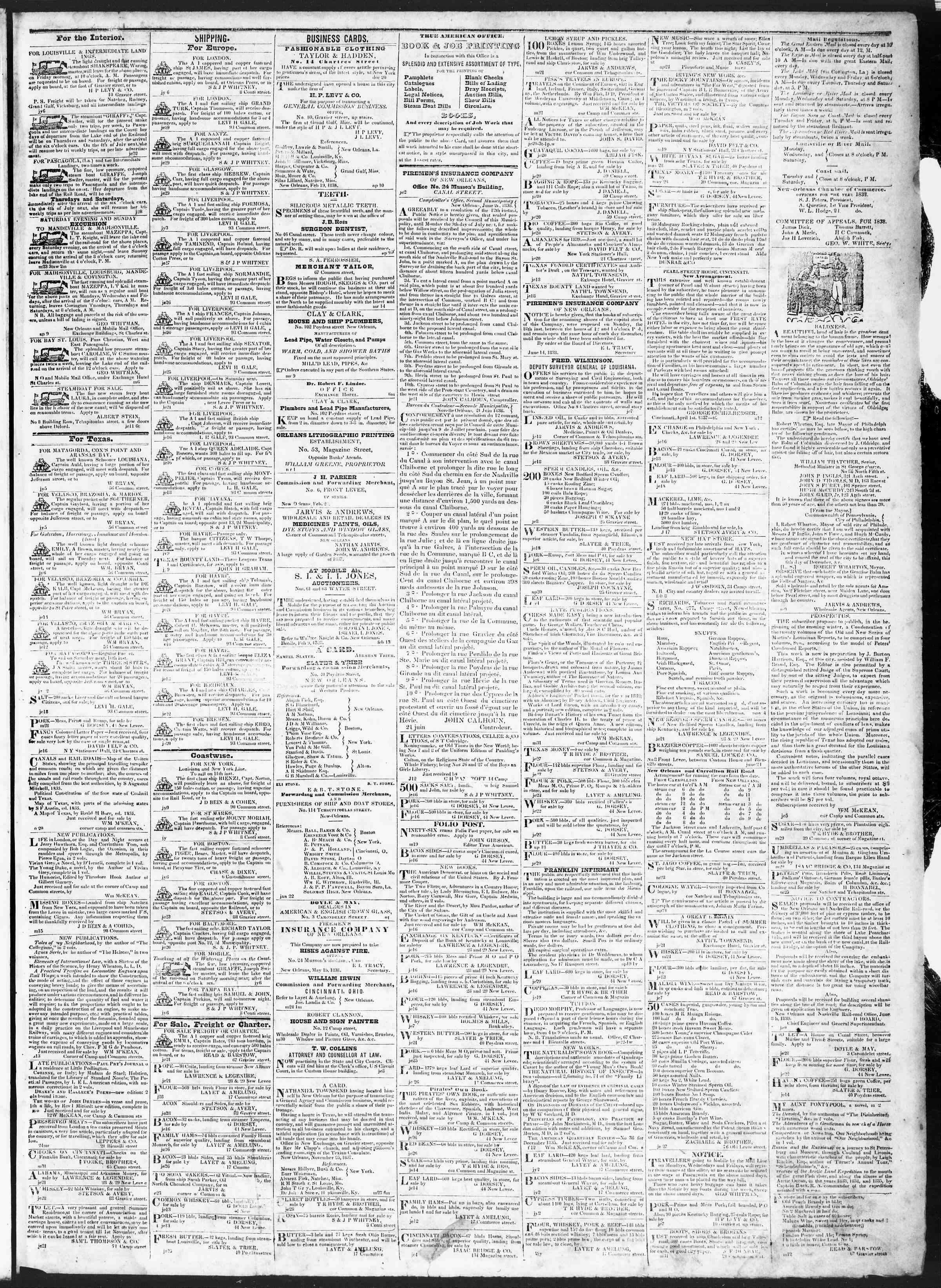 Newspaper of True American dated July 9, 1838 Page 3