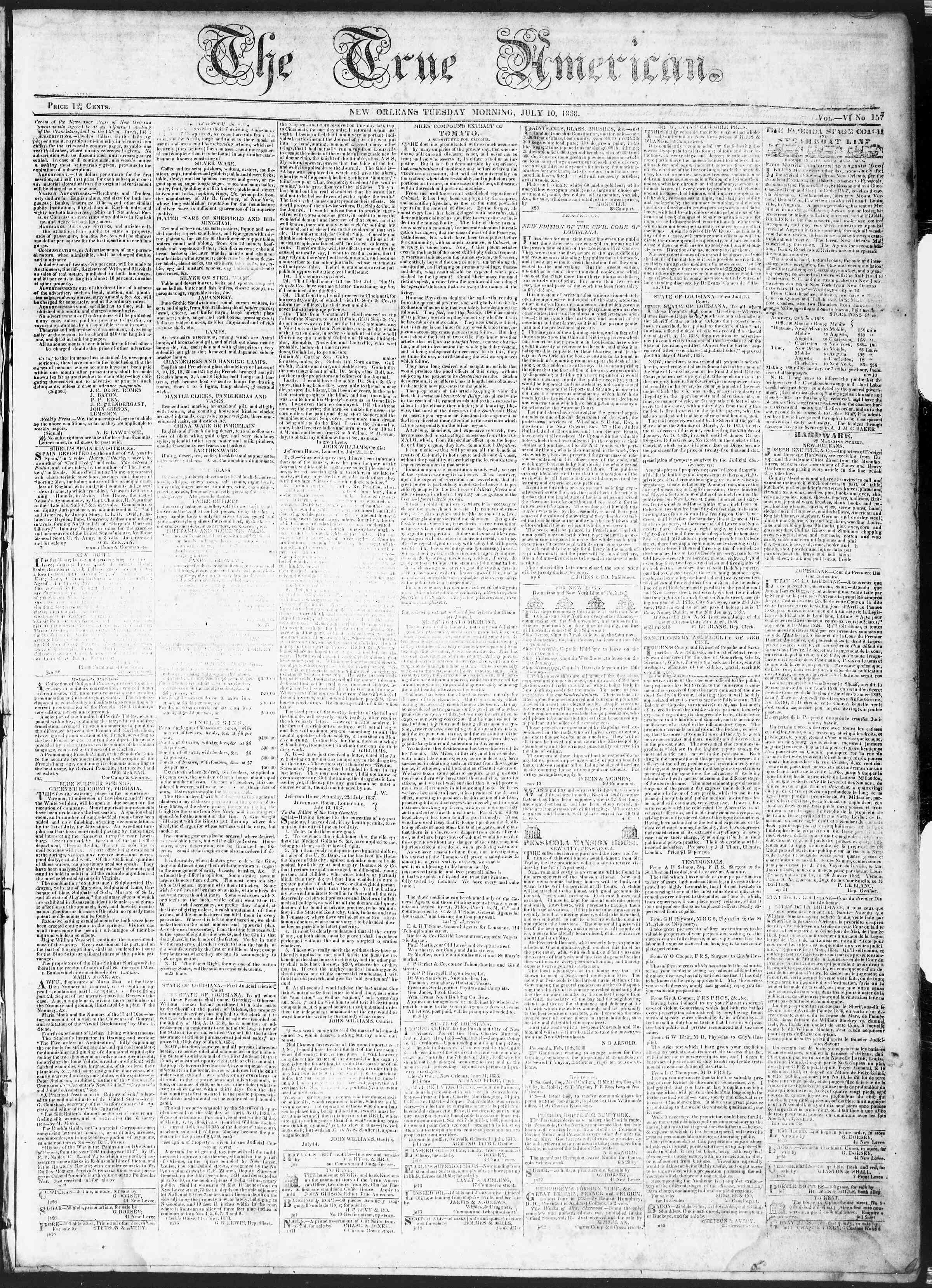 July 10, 1838 Tarihli True American Gazetesi Sayfa 1