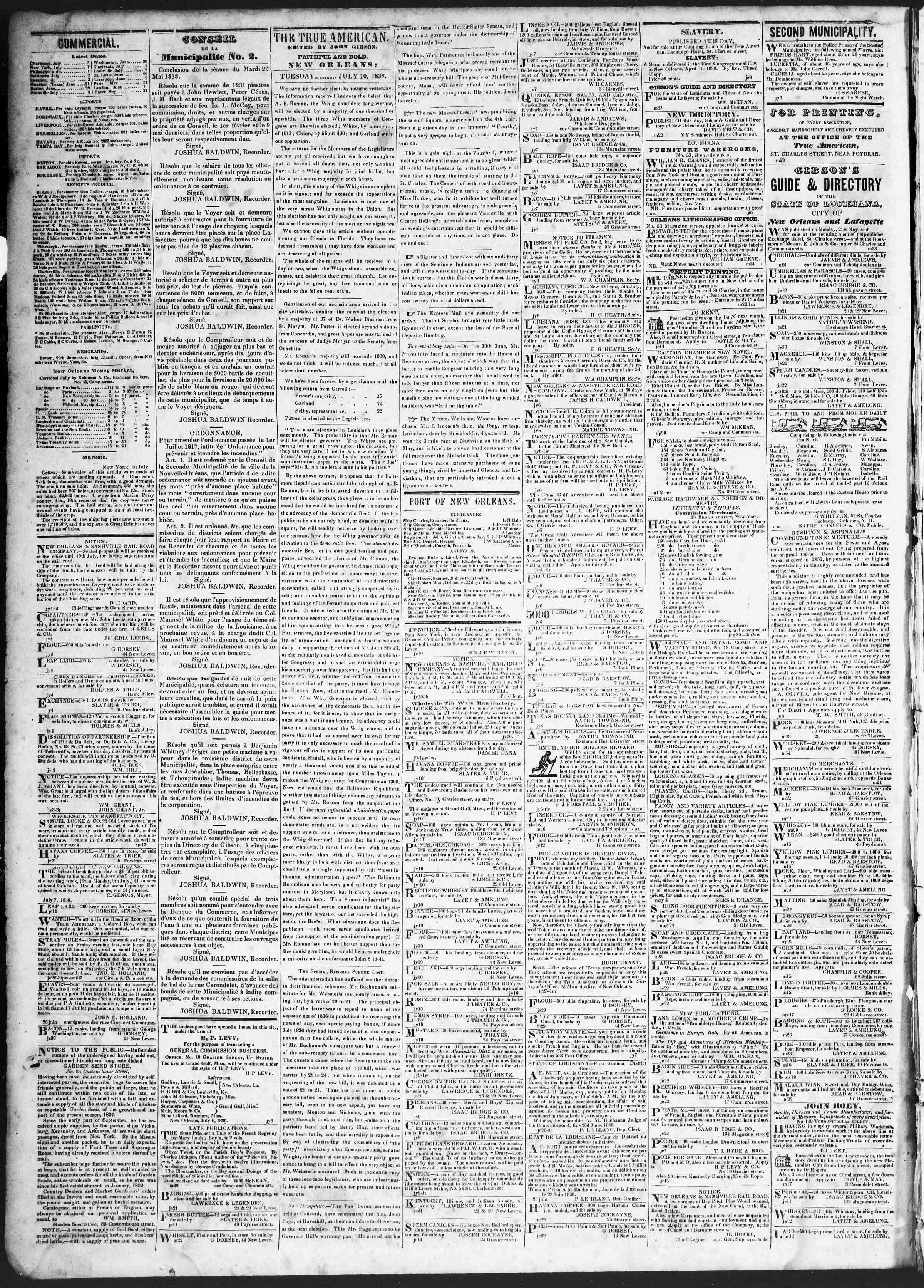 July 10, 1838 Tarihli True American Gazetesi Sayfa 2