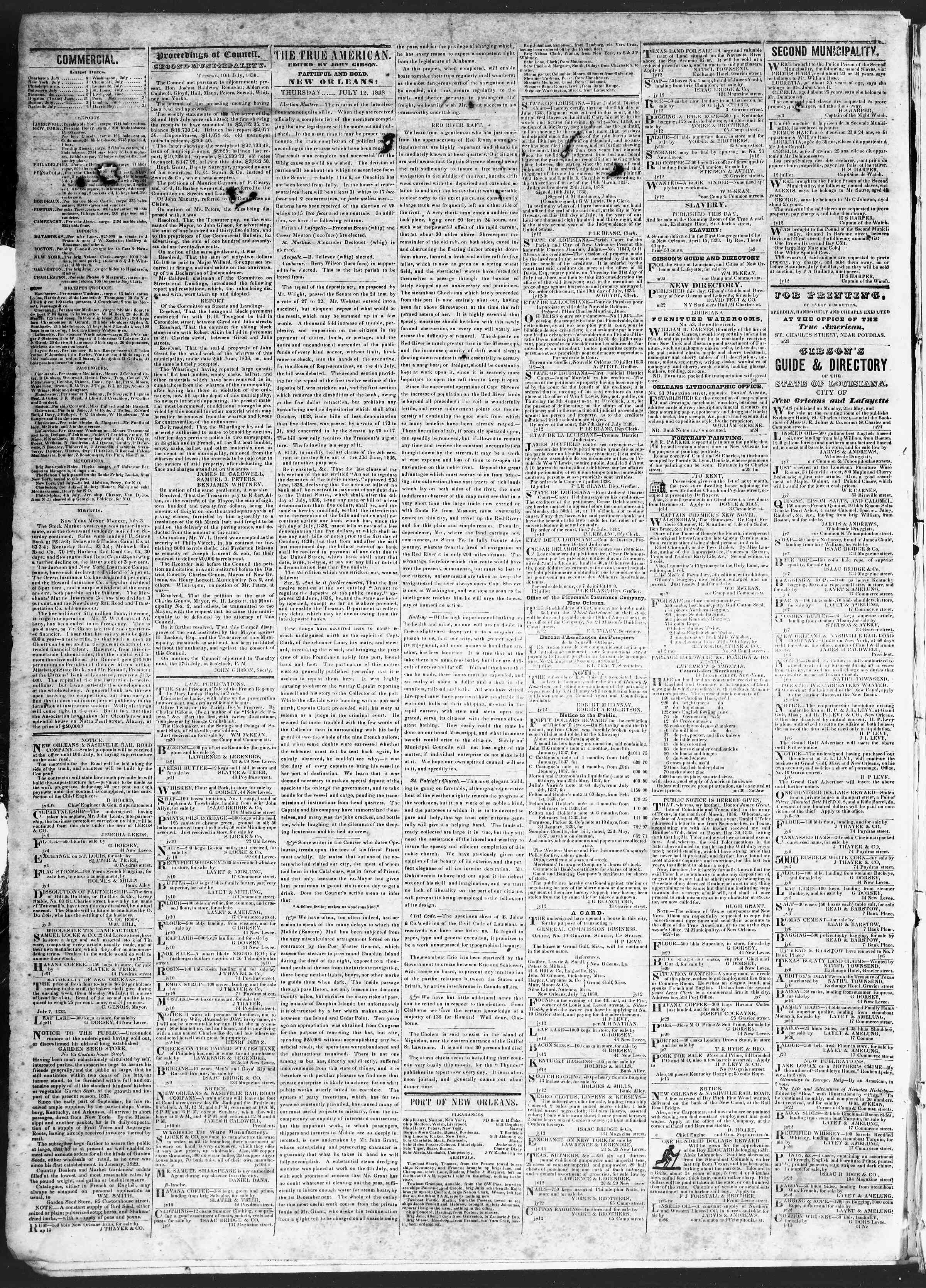 Newspaper of True American dated July 12, 1838 Page 2