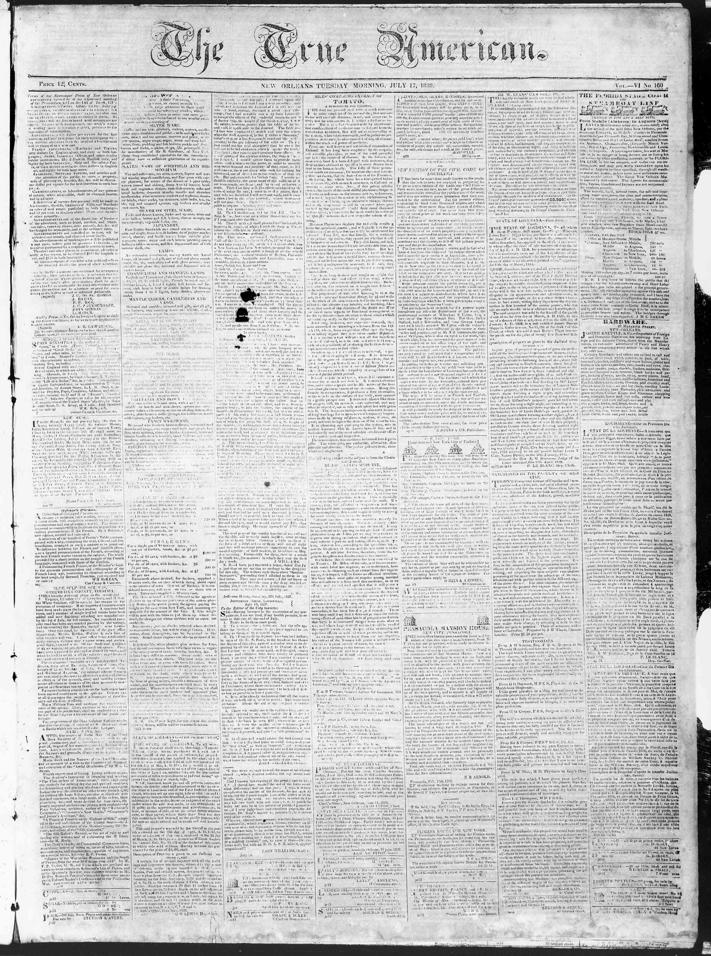 Newspaper of True American dated July 17, 1838 Page 1
