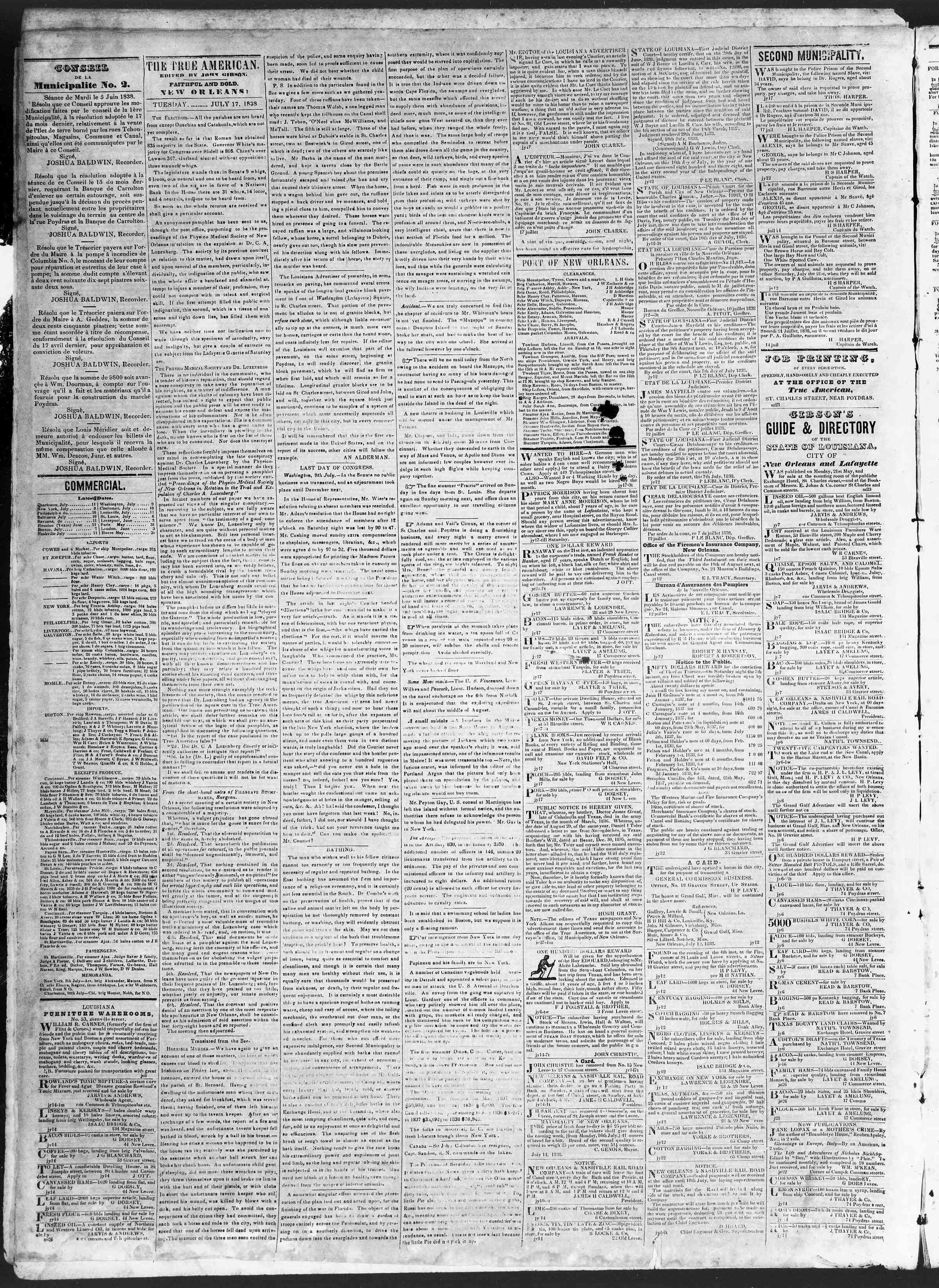 Newspaper of True American dated July 17, 1838 Page 2