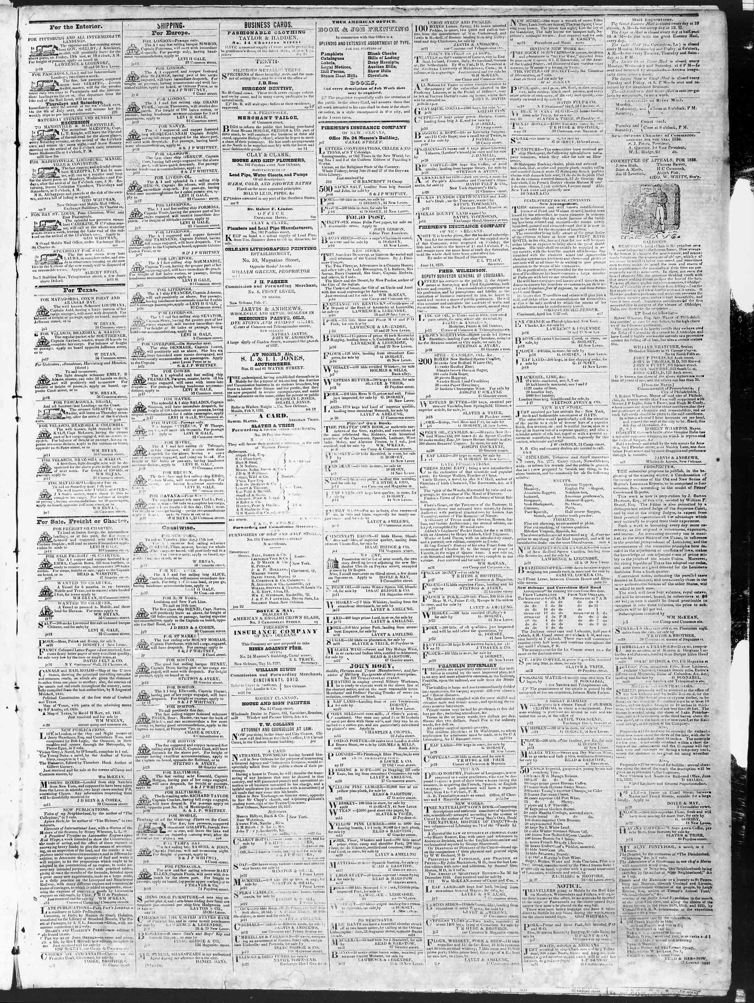 July 17, 1838 Tarihli True American Gazetesi Sayfa 3