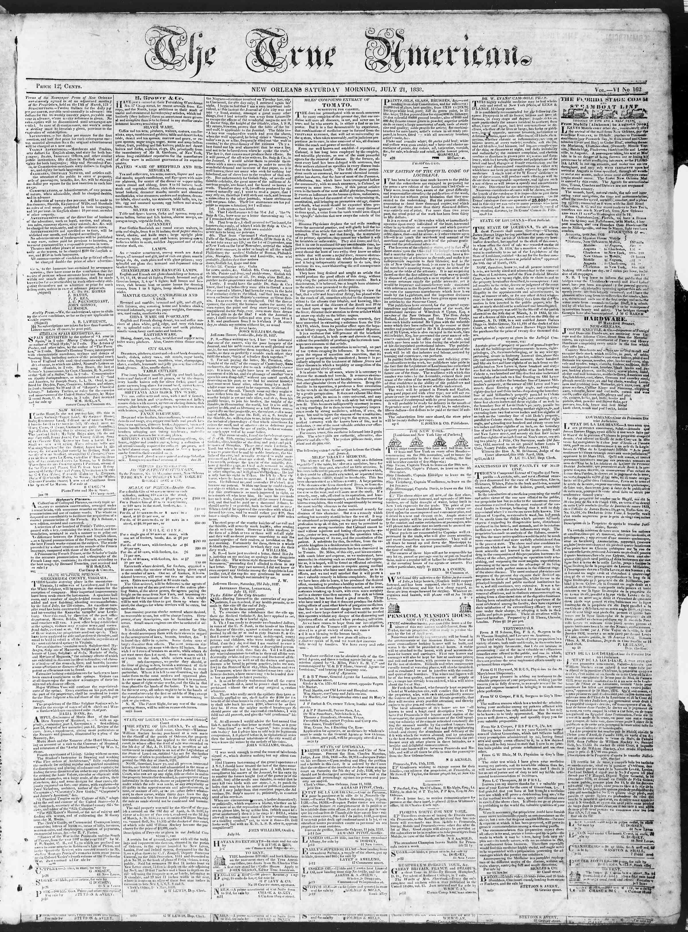 July 21, 1838 Tarihli True American Gazetesi Sayfa 1