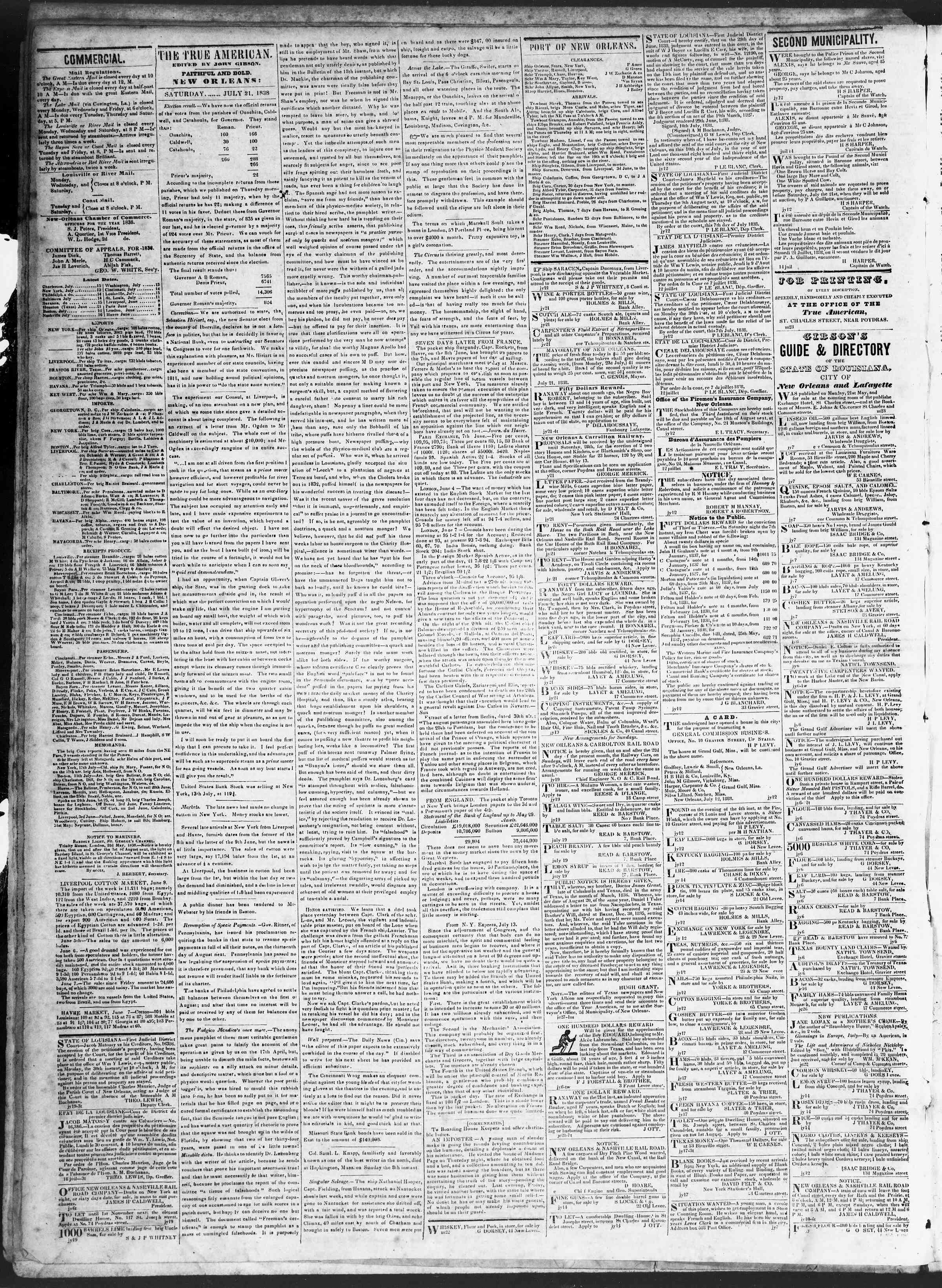 Newspaper of True American dated July 21, 1838 Page 2
