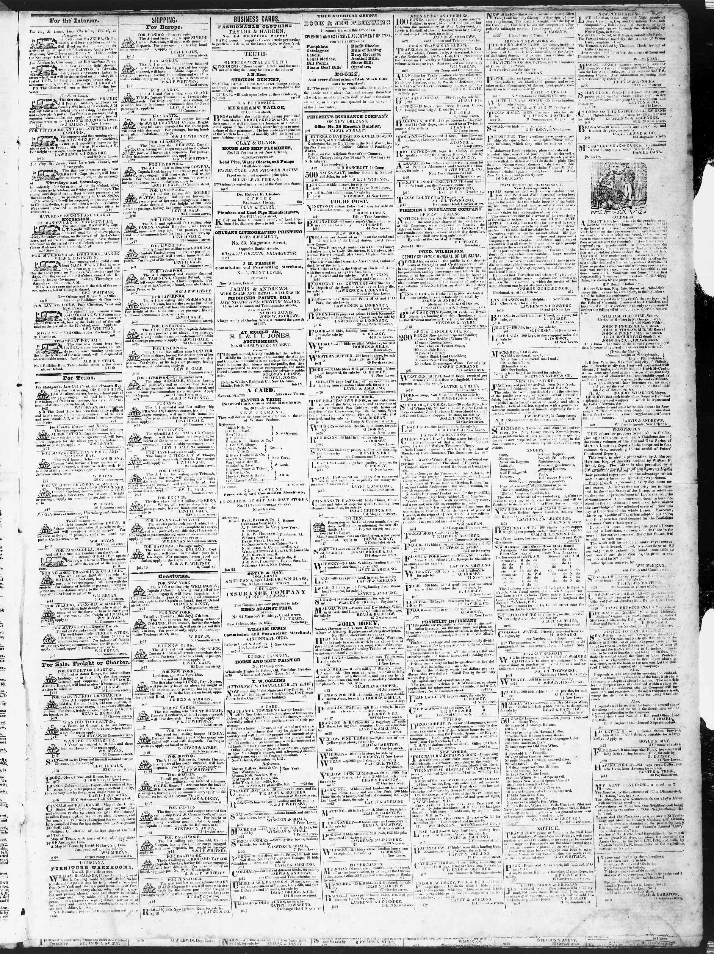 July 21, 1838 Tarihli True American Gazetesi Sayfa 3