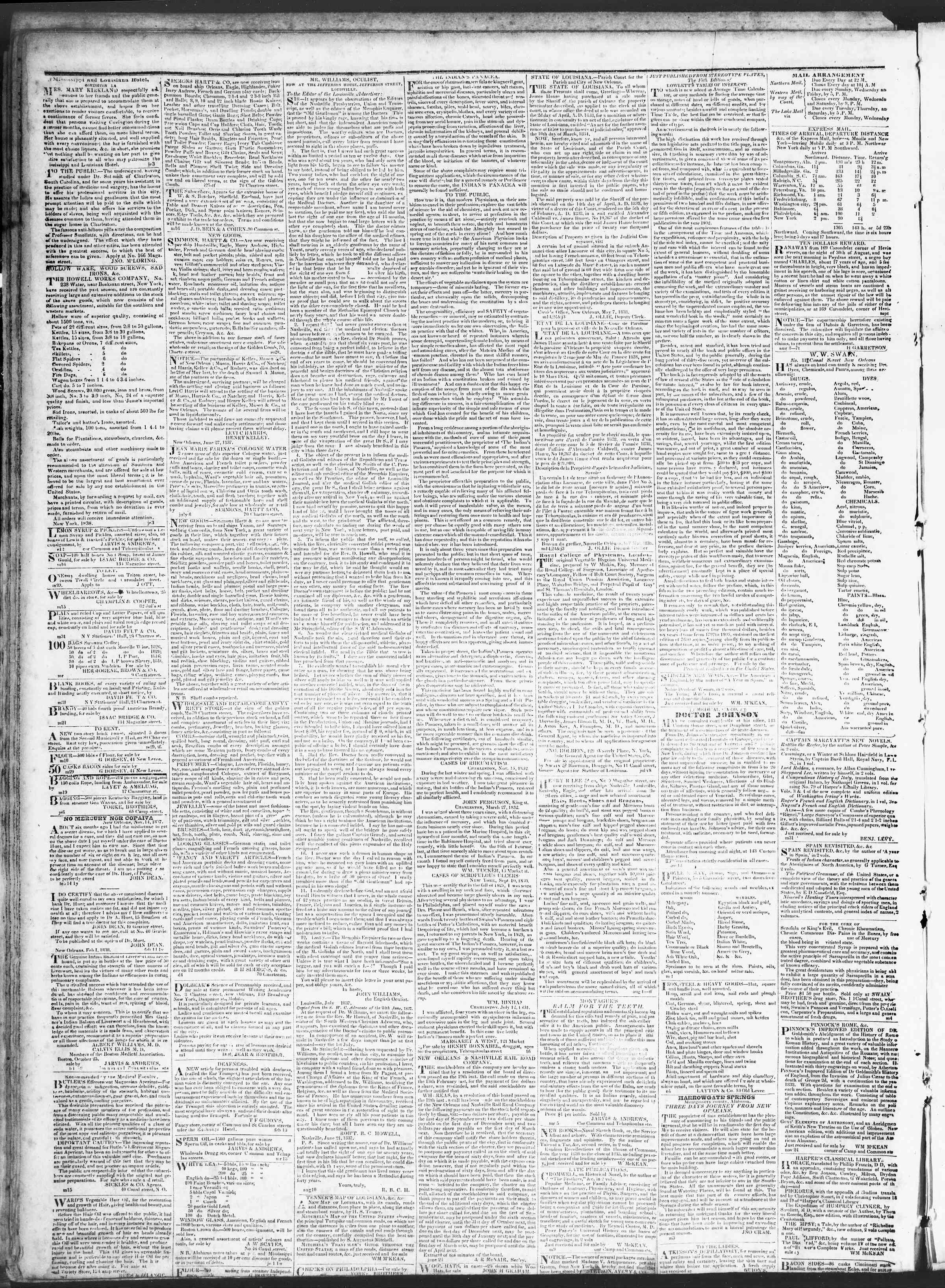 July 24, 1838 Tarihli True American Gazetesi Sayfa 4