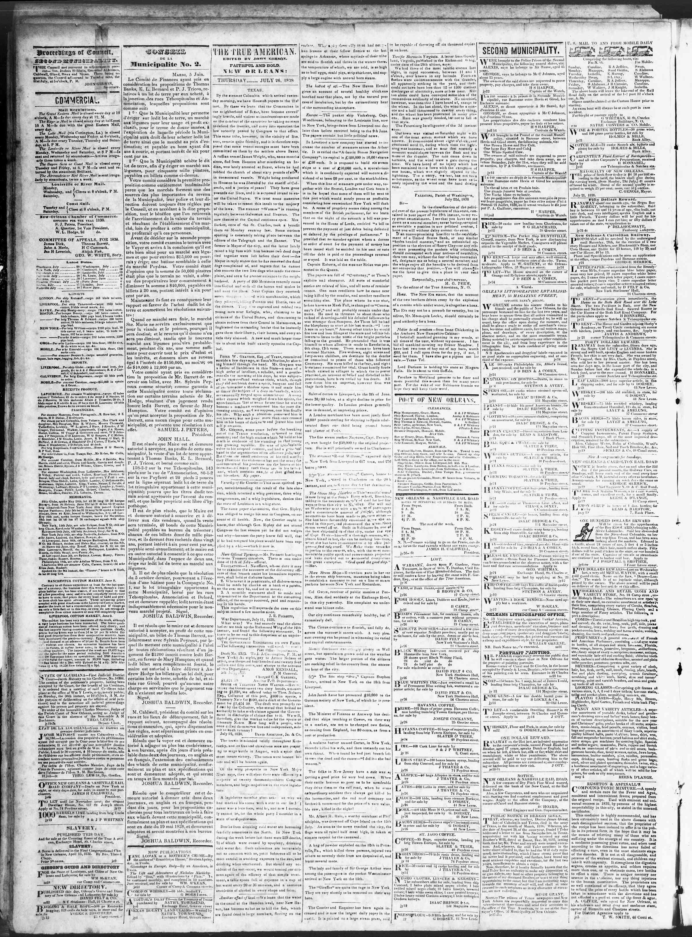 Newspaper of True American dated 26 Temmuz 1838 Page 2