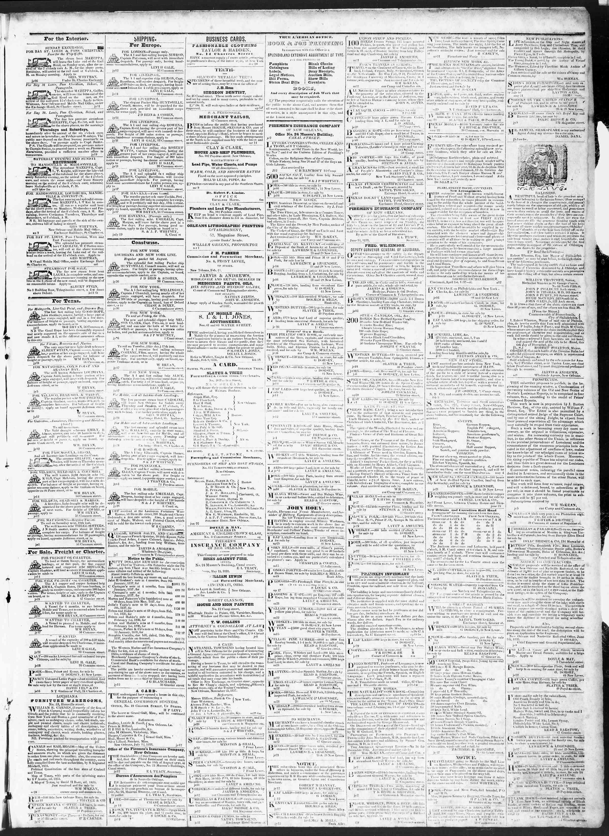July 26, 1838 Tarihli True American Gazetesi Sayfa 3