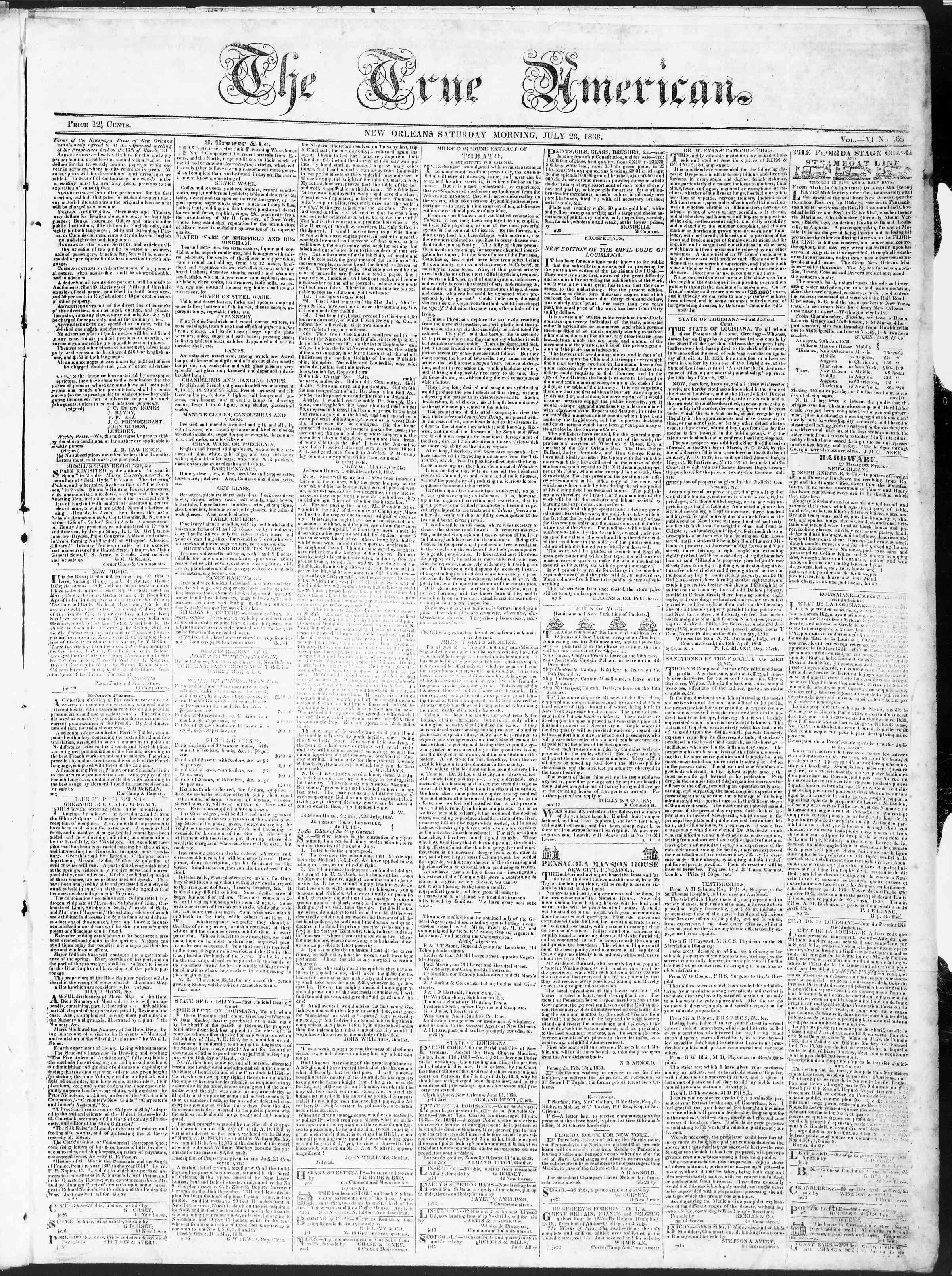 July 28, 1838 Tarihli True American Gazetesi Sayfa 1