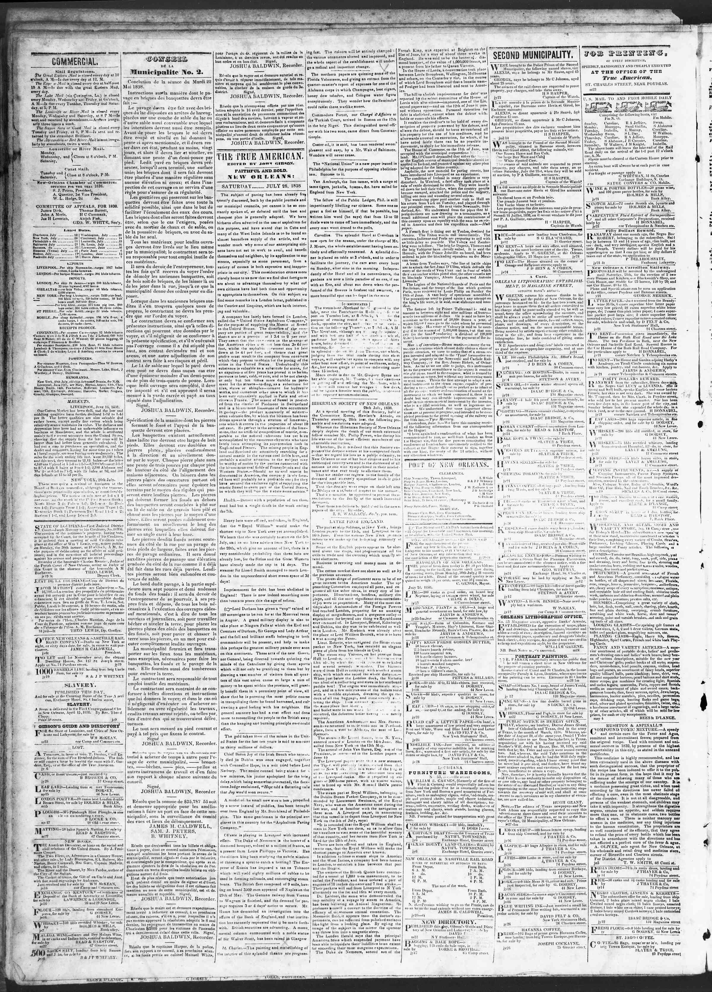 July 28, 1838 Tarihli True American Gazetesi Sayfa 2