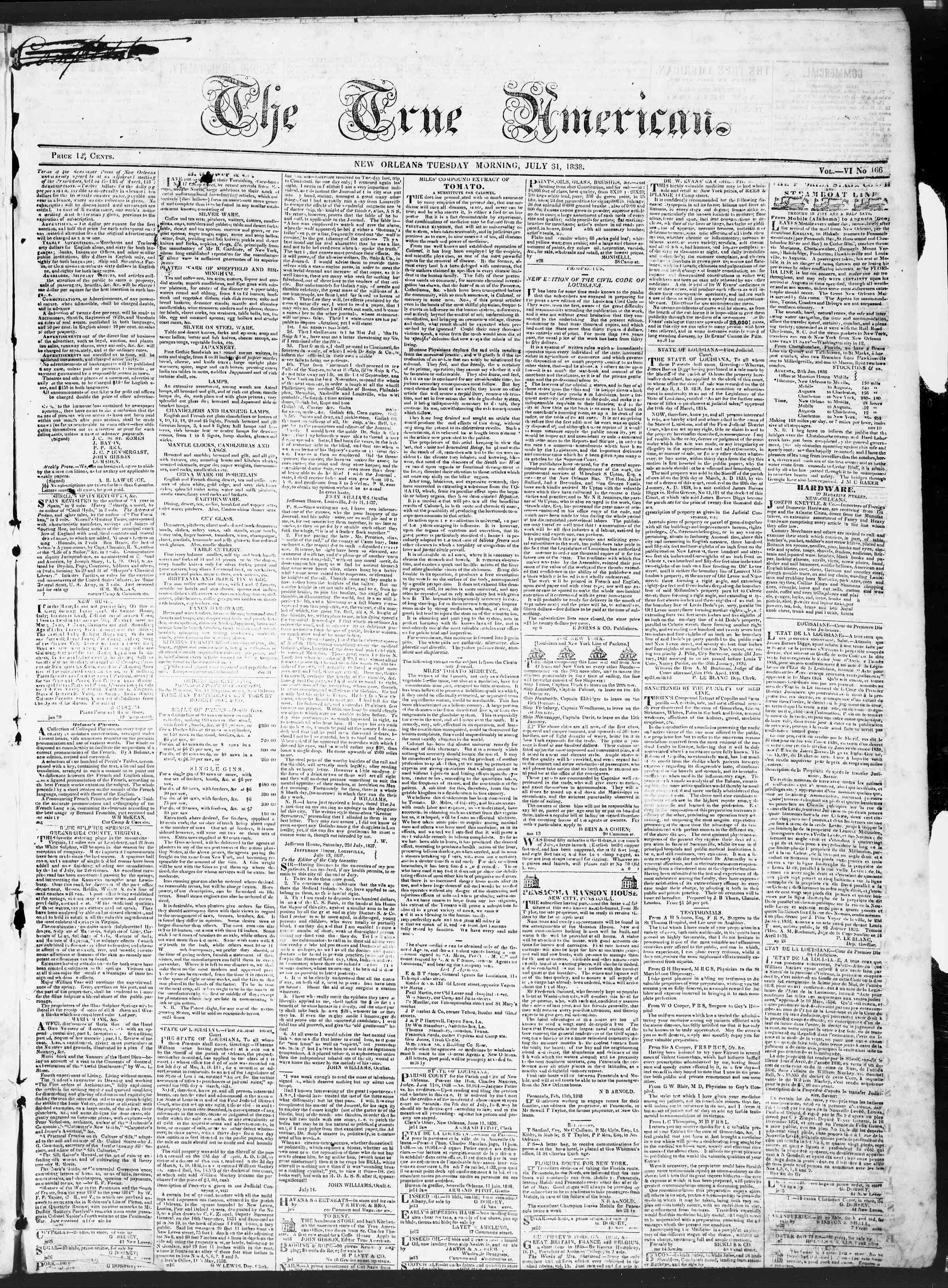 July 31, 1838 Tarihli True American Gazetesi Sayfa 1