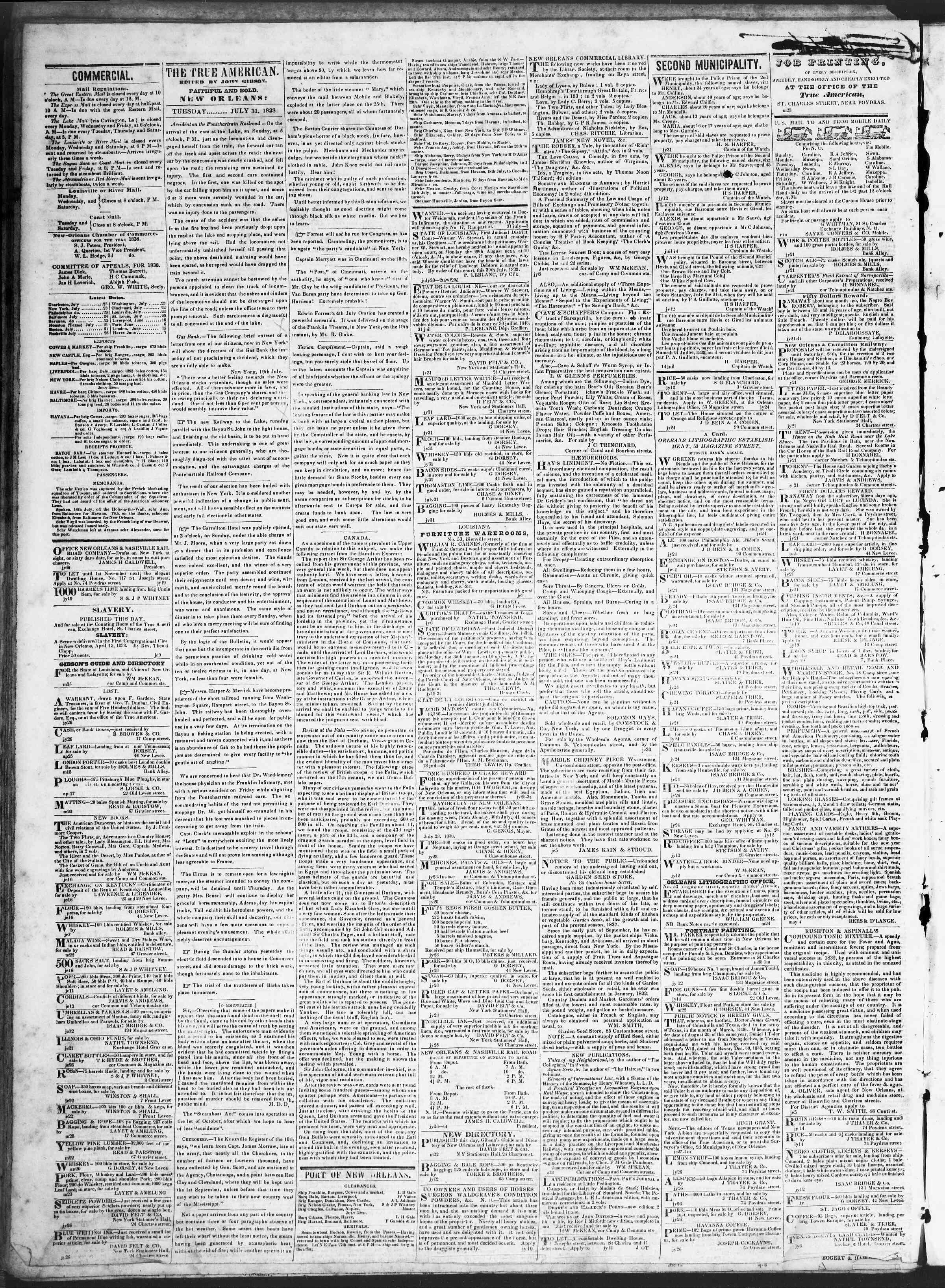 July 31, 1838 Tarihli True American Gazetesi Sayfa 2