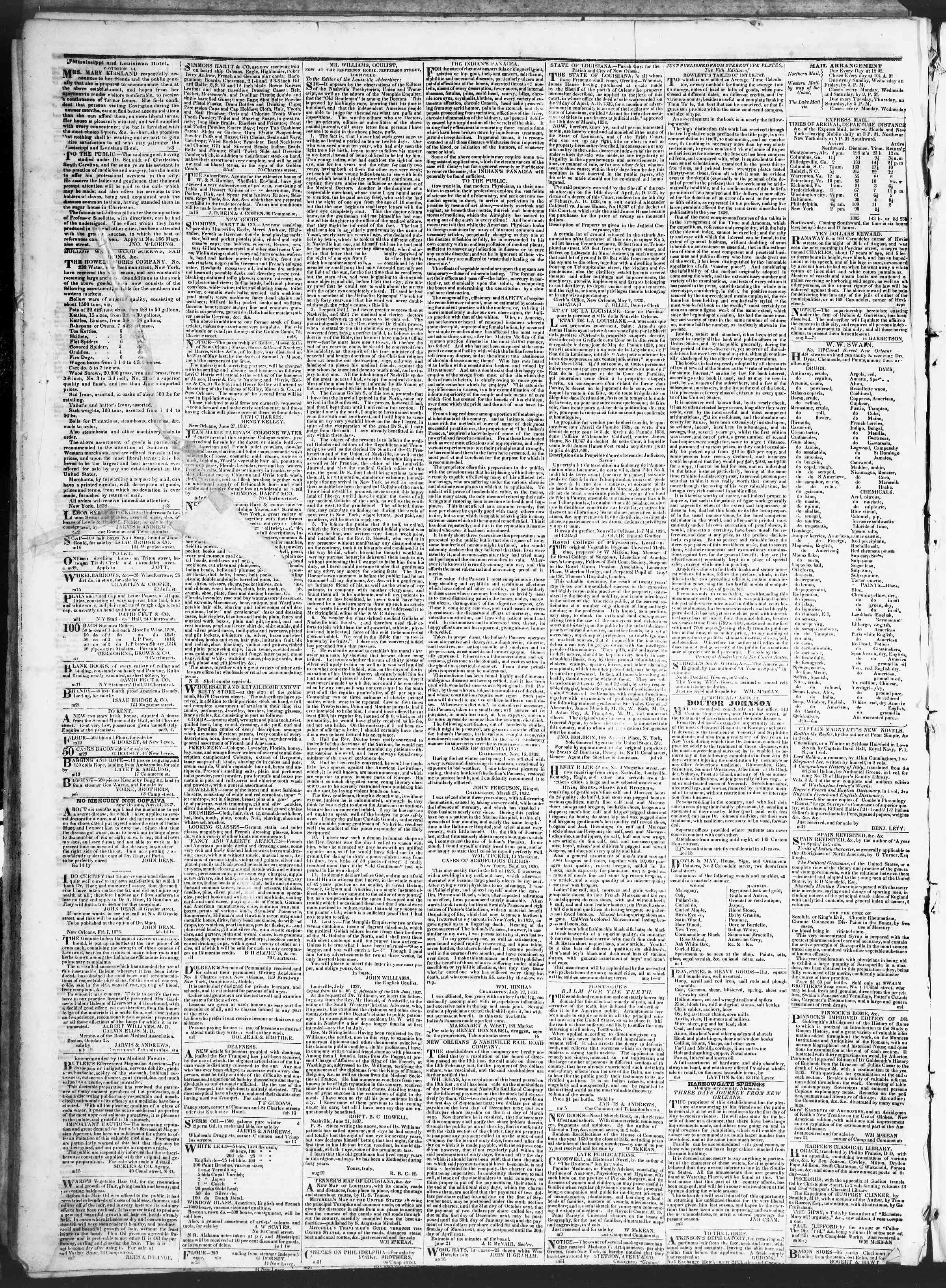Newspaper of True American dated August 2, 1838 Page 4