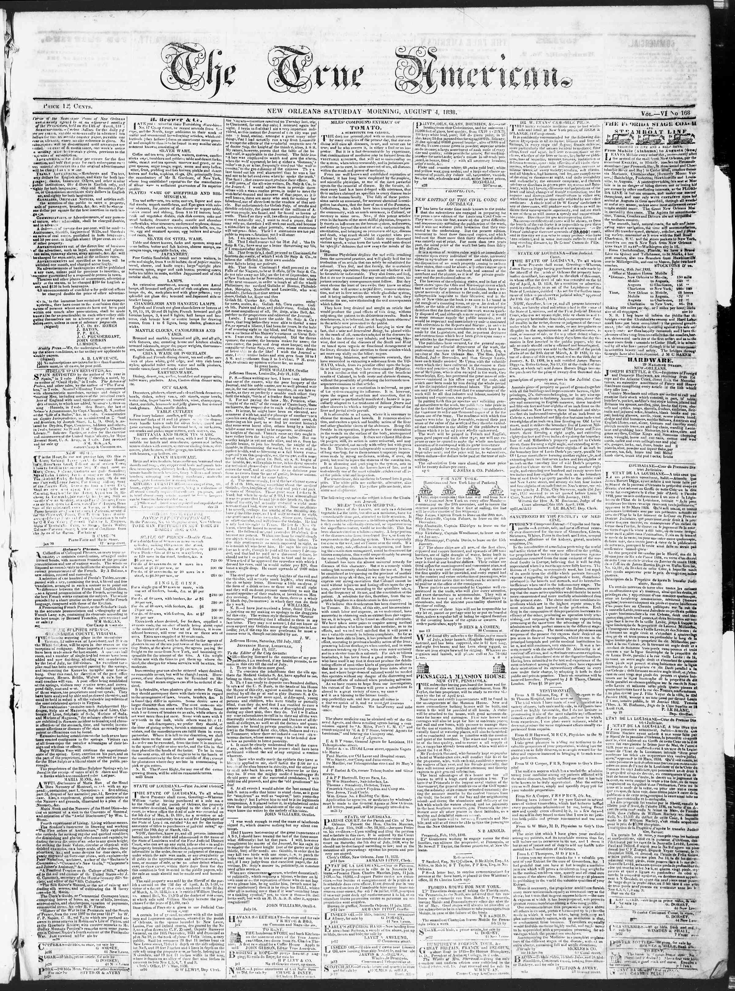 Newspaper of True American dated August 4, 1838 Page 1