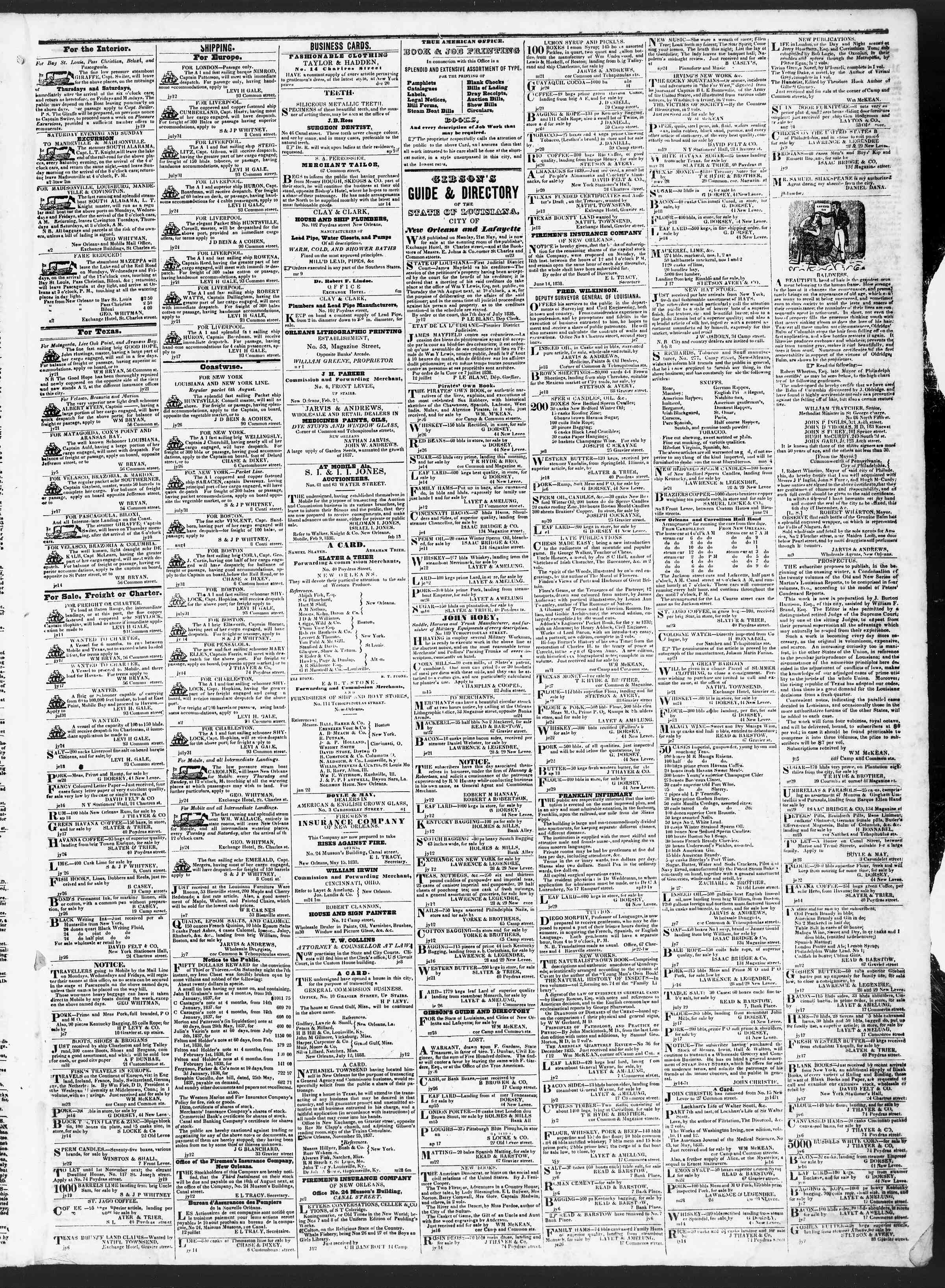 August 4, 1838 Tarihli True American Gazetesi Sayfa 3