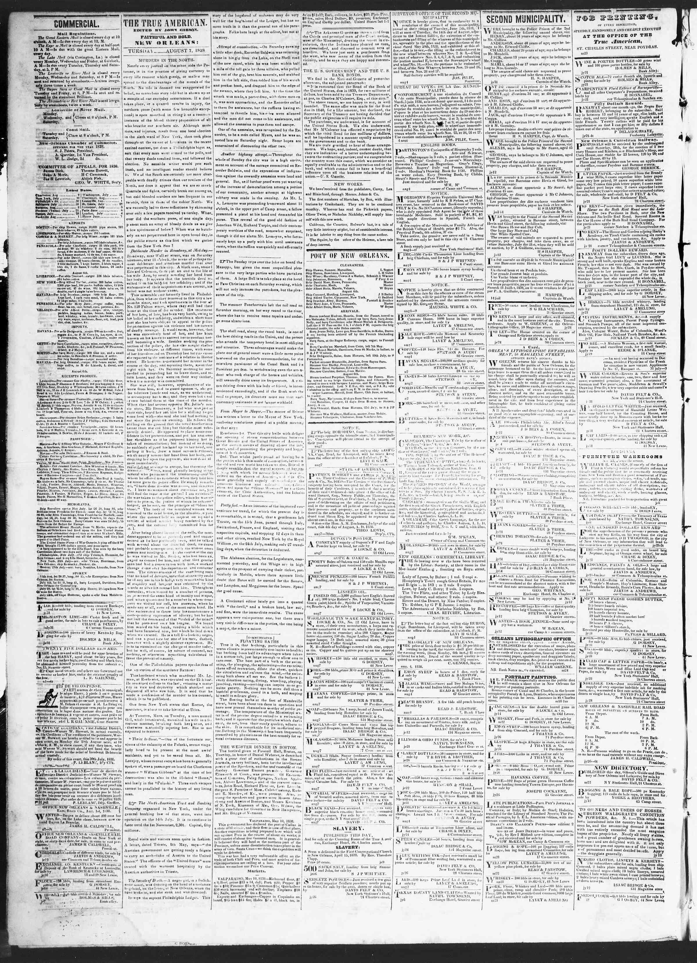 August 7, 1838 Tarihli True American Gazetesi Sayfa 2