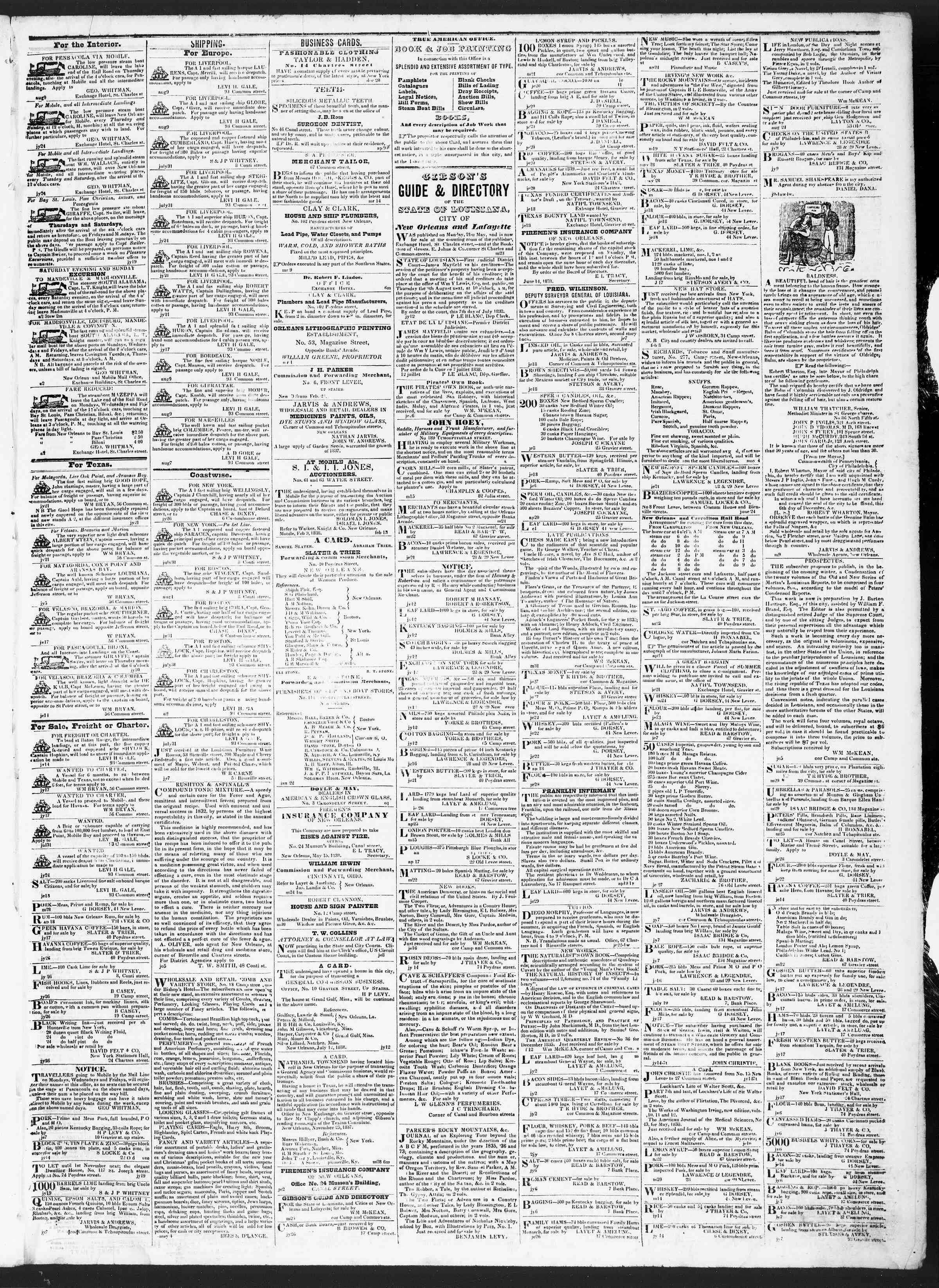 August 9, 1838 Tarihli True American Gazetesi Sayfa 3