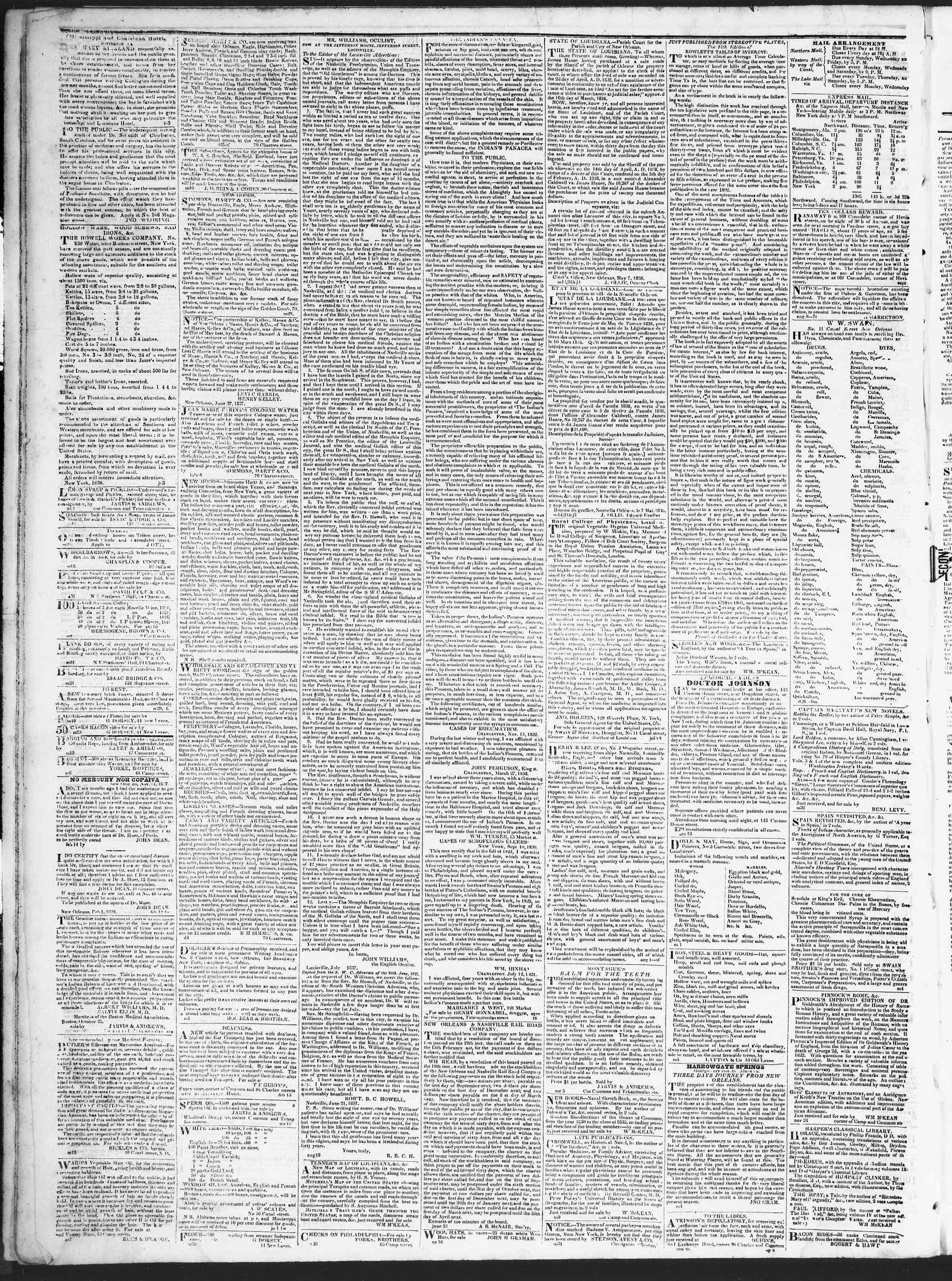 August 9, 1838 Tarihli True American Gazetesi Sayfa 4
